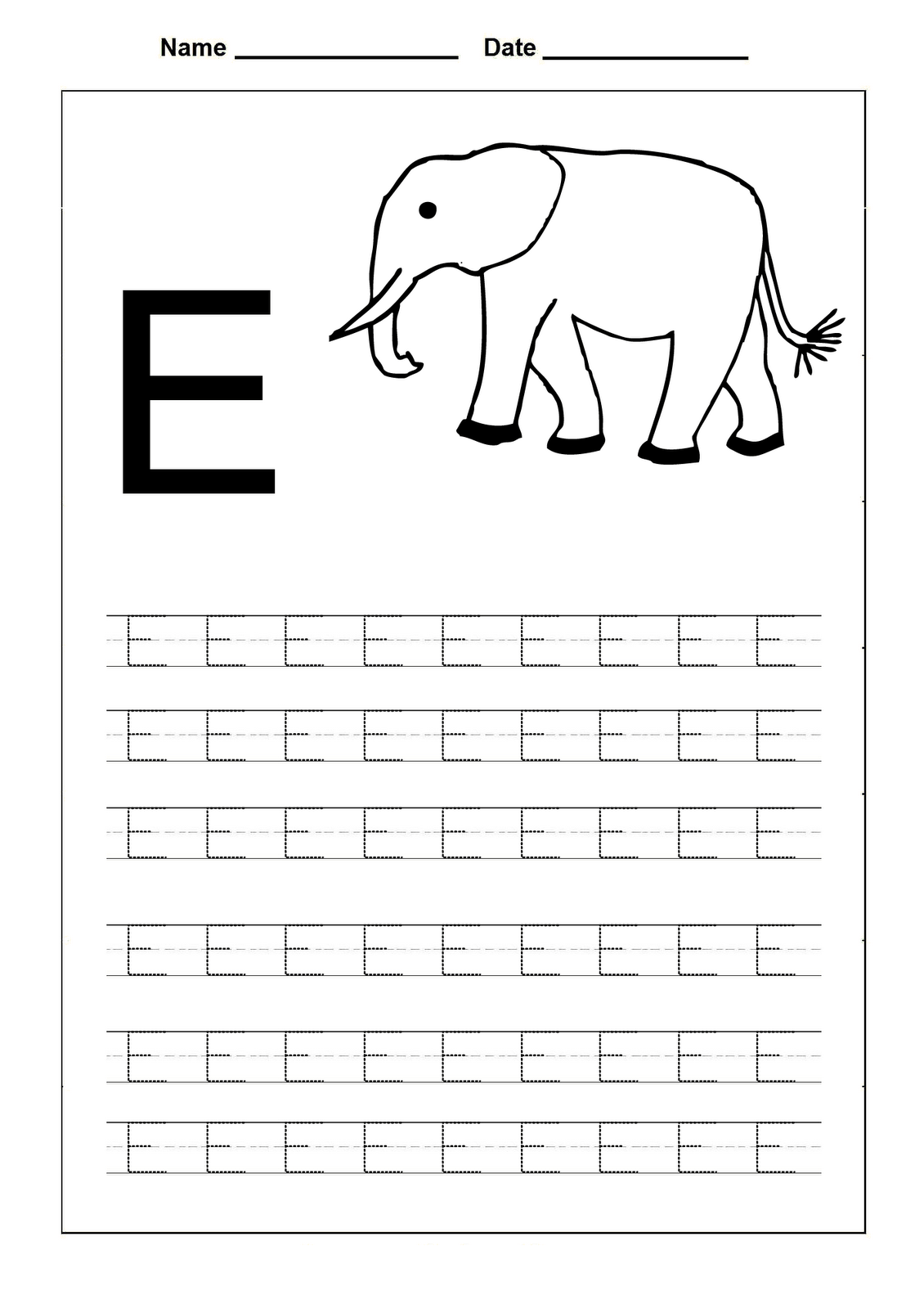 8 Best Images Of Printable Tracing Letter E