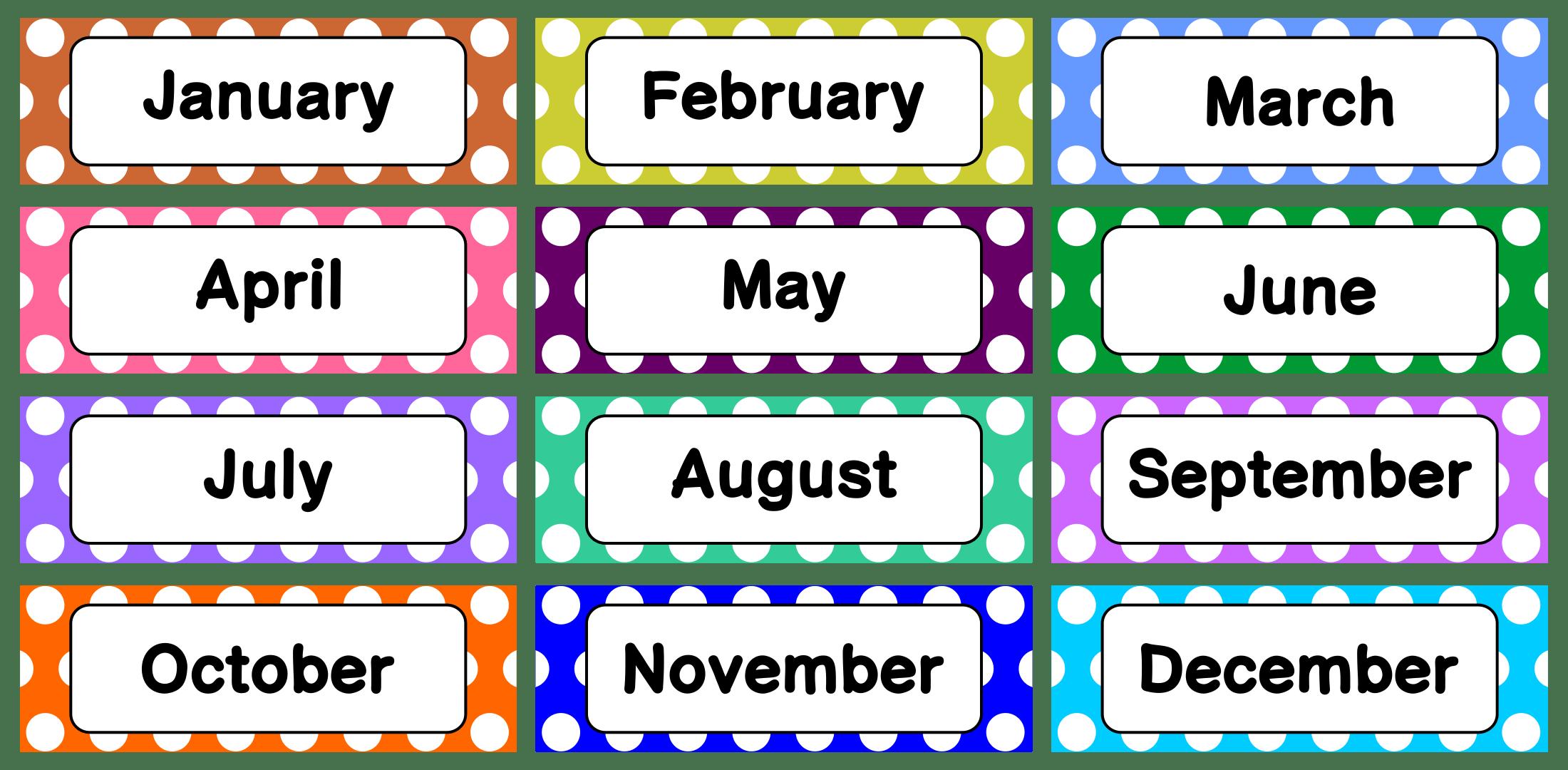 8 Best Printable Calendar Month Labels