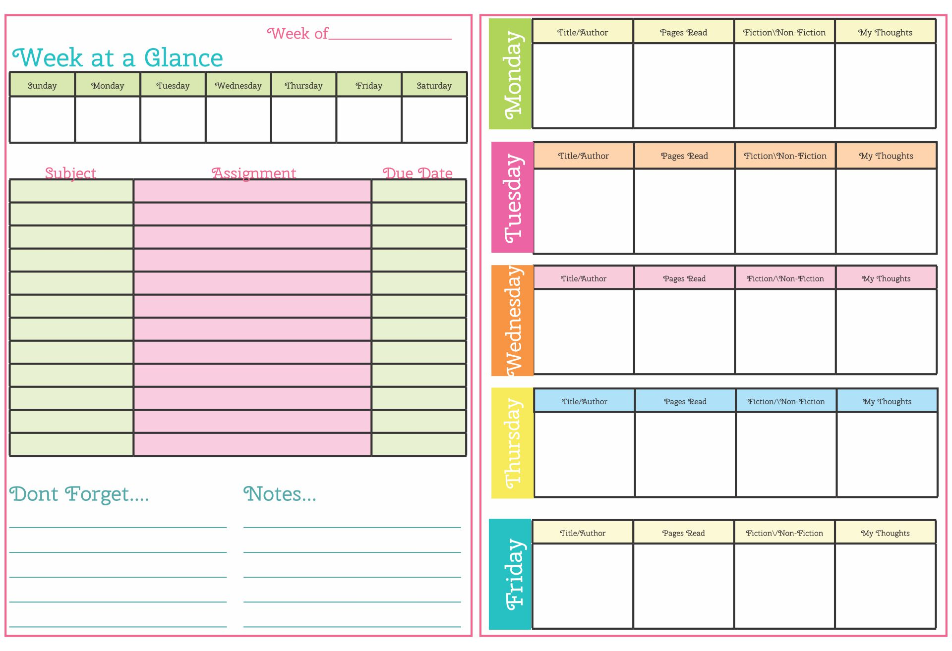 Children must be taught effective time management from a young age. 6 Best Student Homework Planners Cute Planners Printable Printablee Com