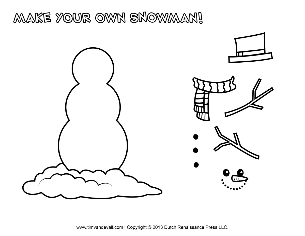 5 Best Images Of Snowman Parts Printable