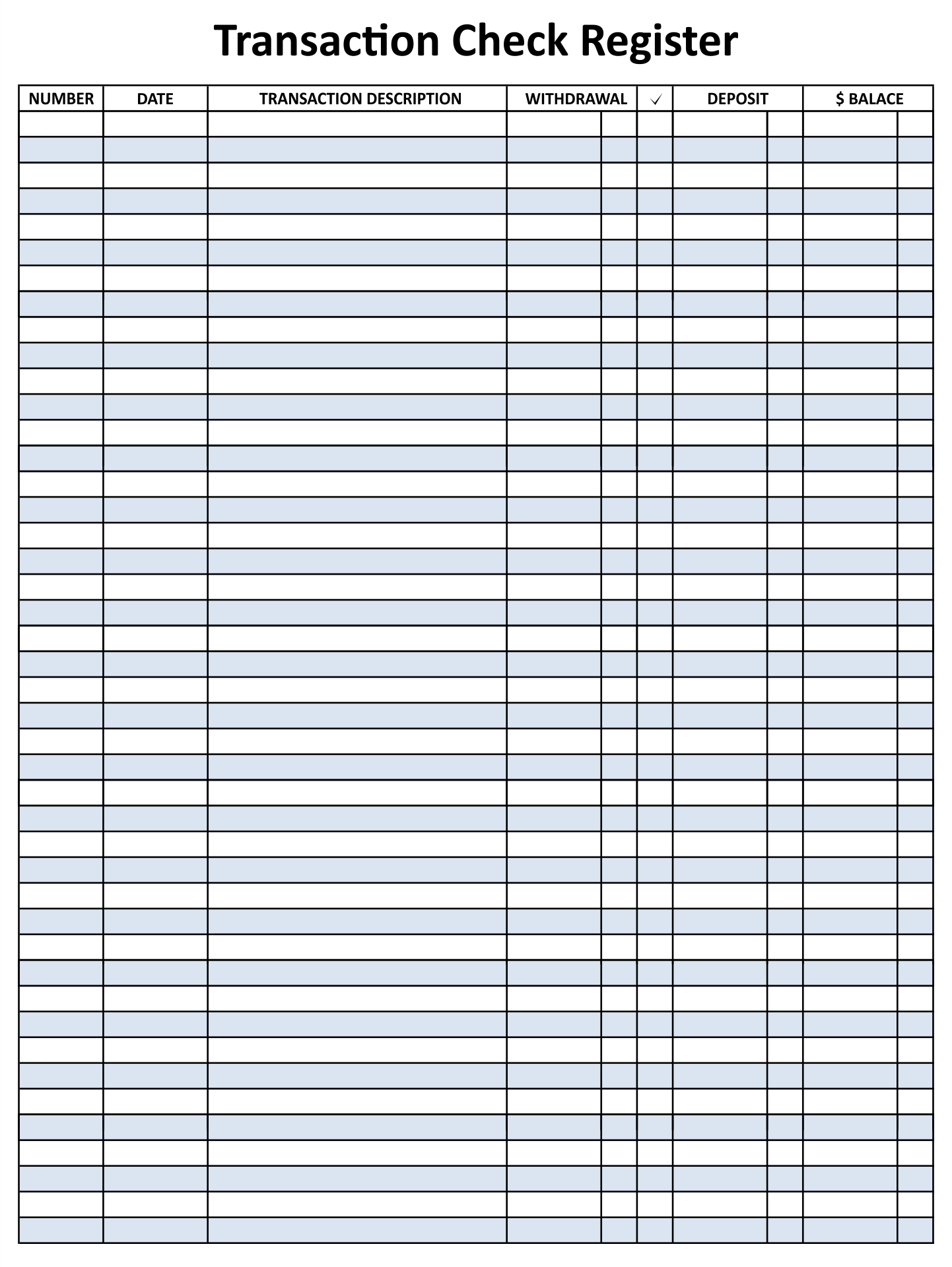 8 Best Images Of Free Printable Check Registers For