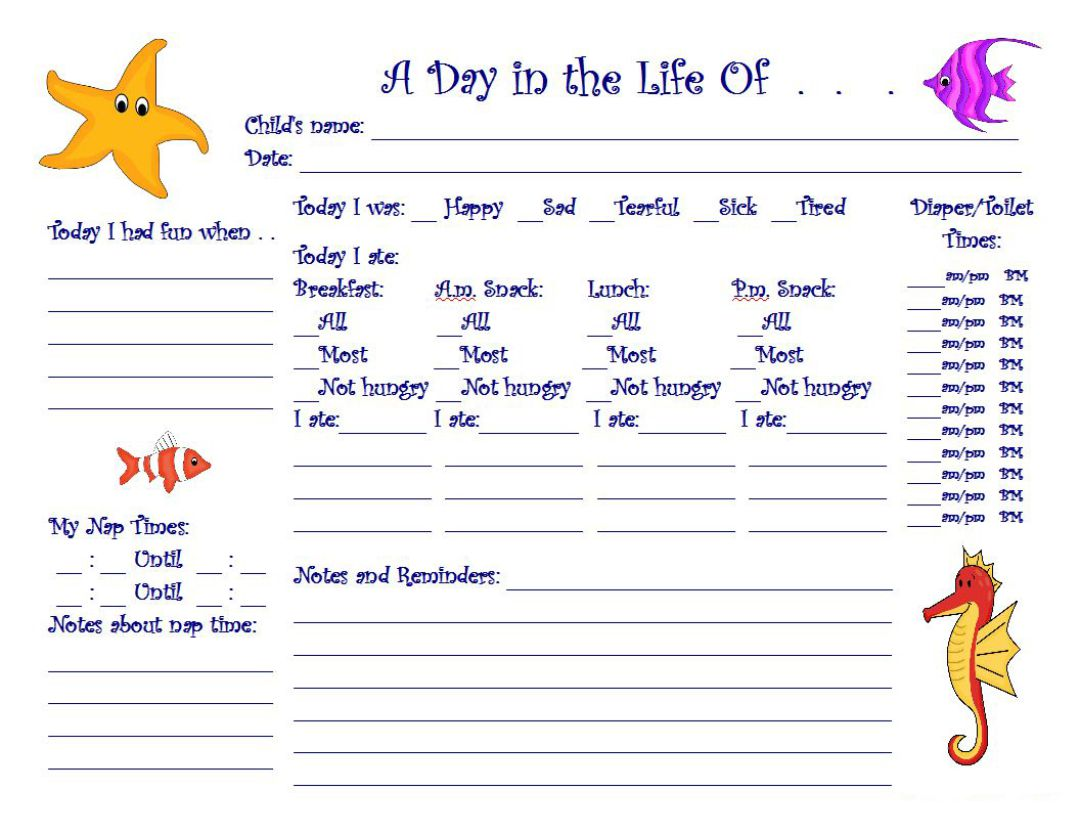 7 Best Images Of Printable Daily Sheets For Toddlers