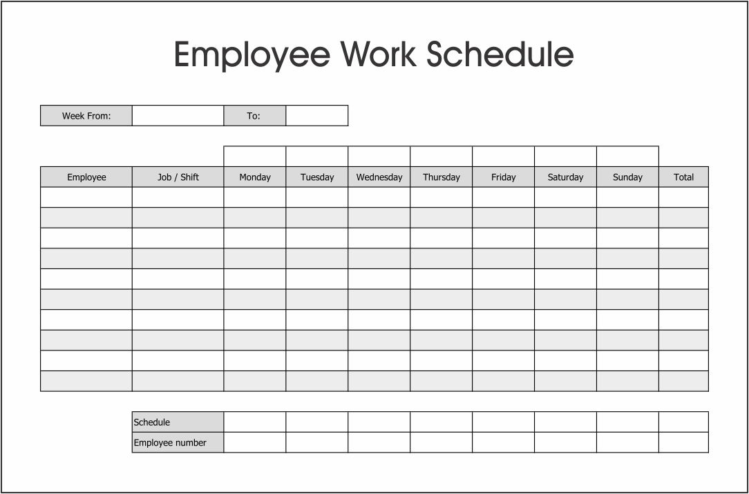 A good weekly schedule template can help you organize work and time,. 10 Best Free Printable Blank Employee Schedules Printablee Com