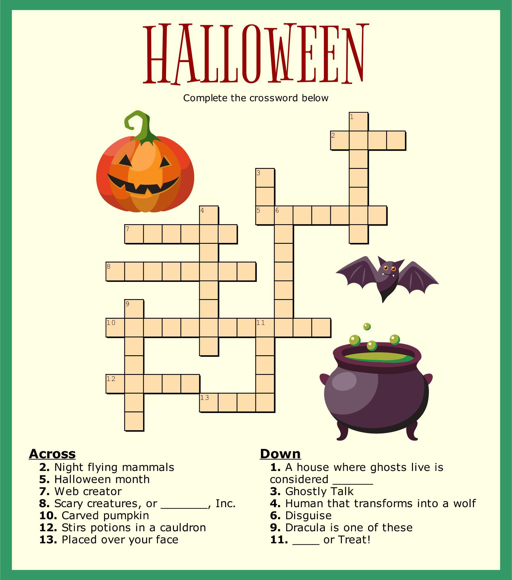 5 Best Images Of Halloween Crossword Puzzles Printable