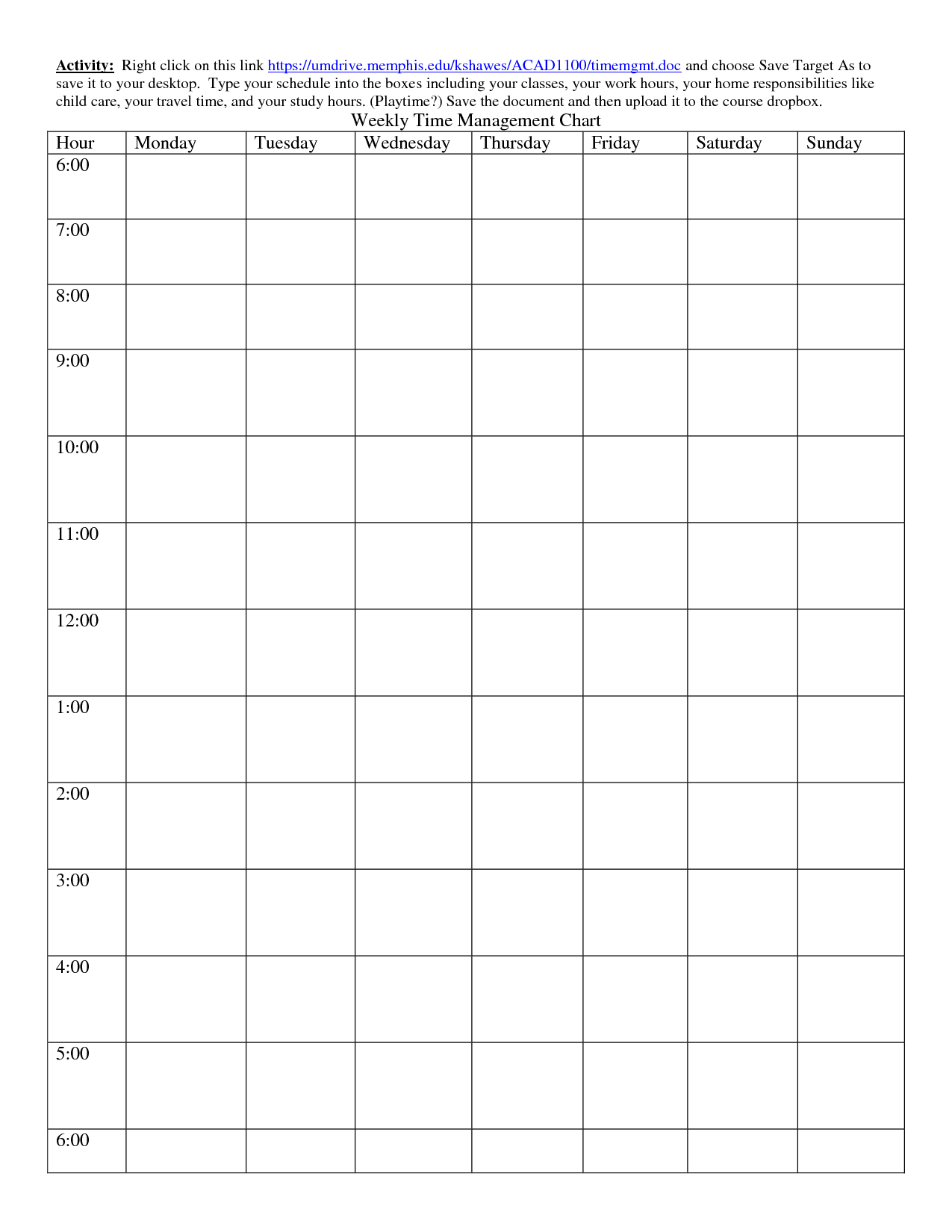 6 Best Images Of Printable Weekly Time Chart