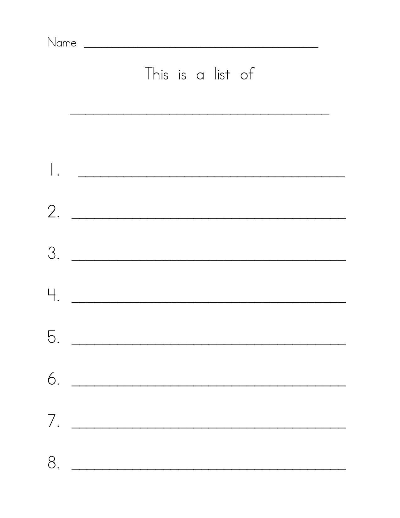 5 Best Images Of Printable List With Numbered Lines