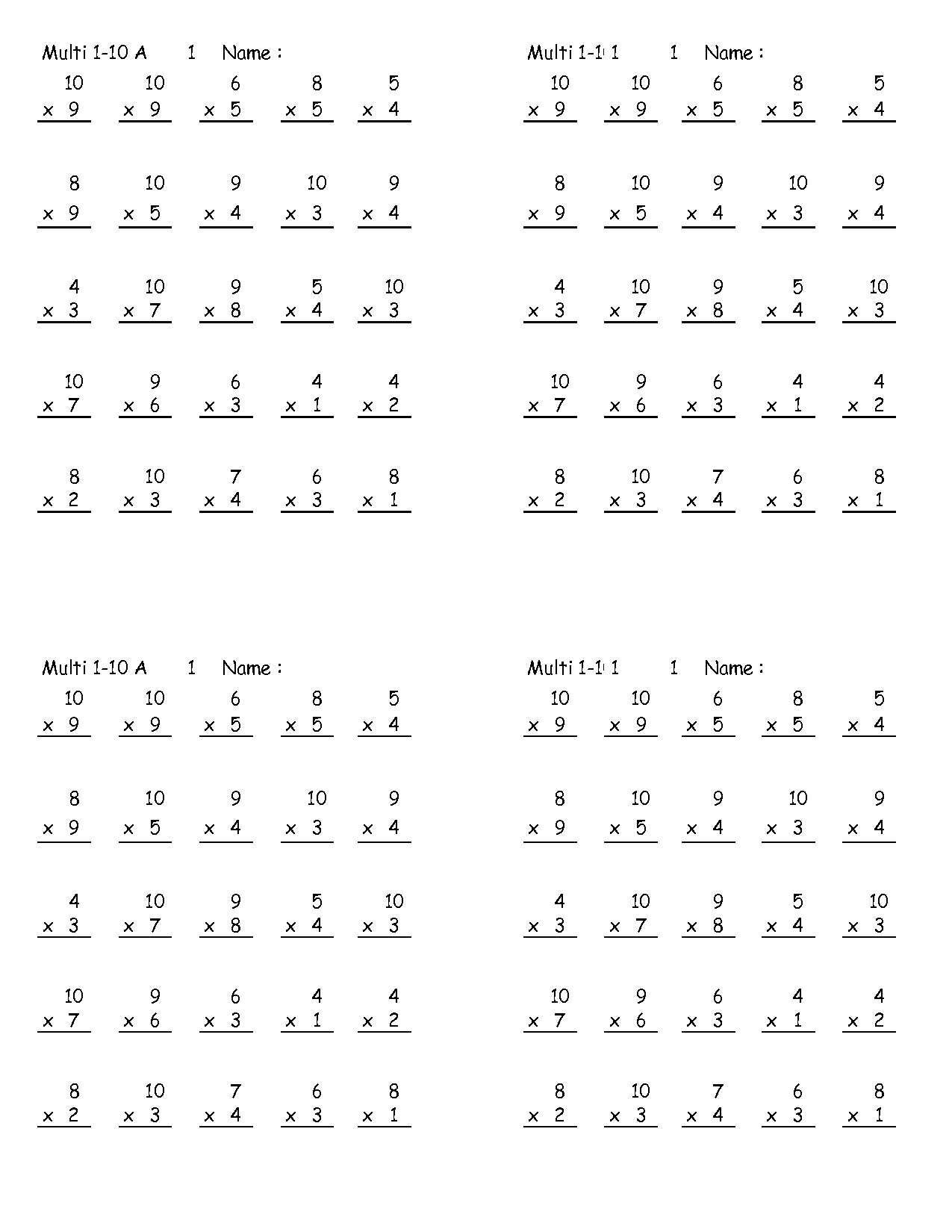 Grade 4 Multiplication Worksheet