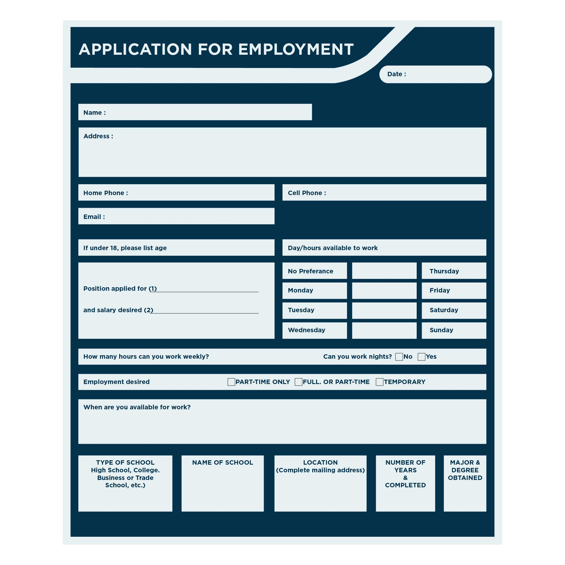 8 Best Images Of Printable Blank Application For