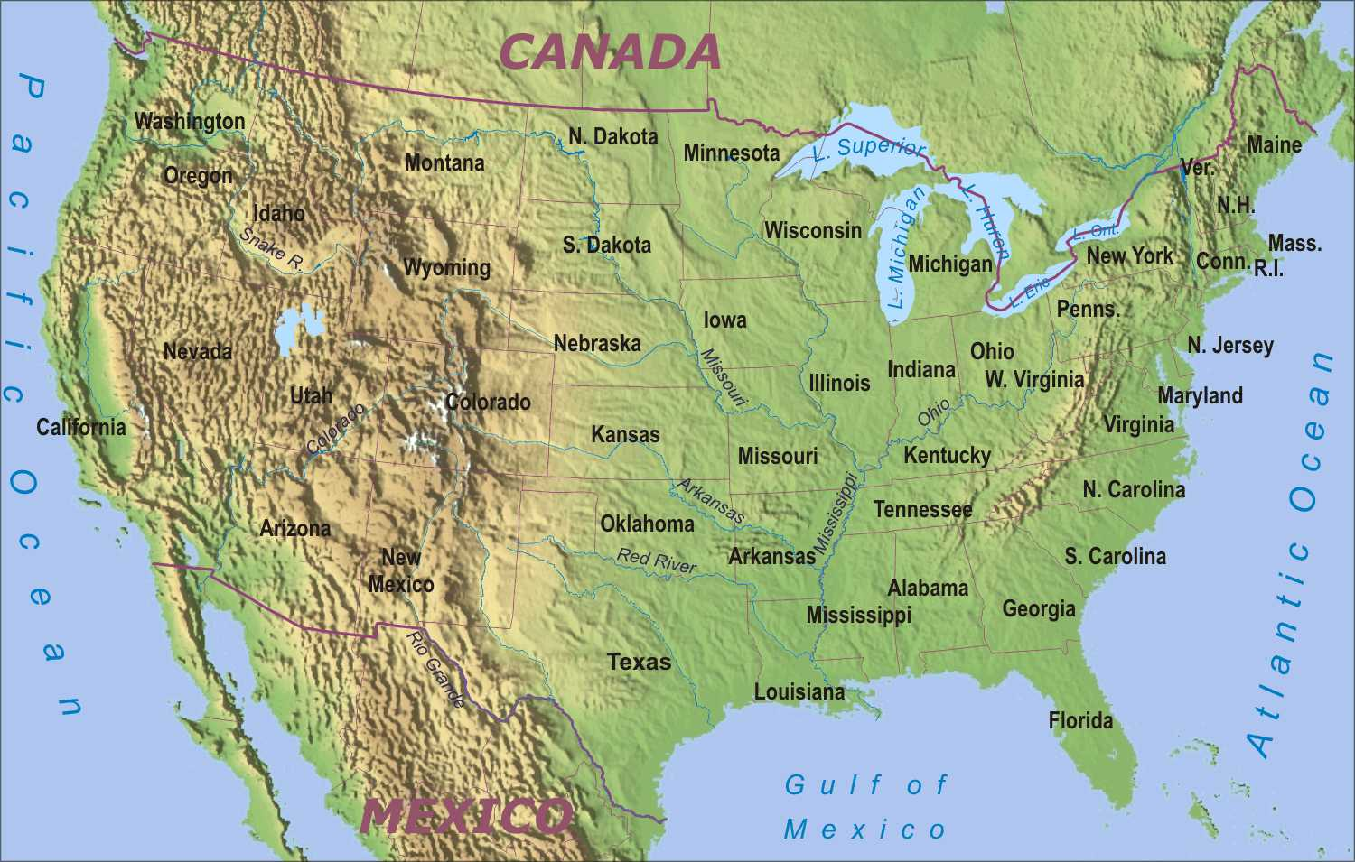 8 Best Images Of Printable Physical Map Of Us