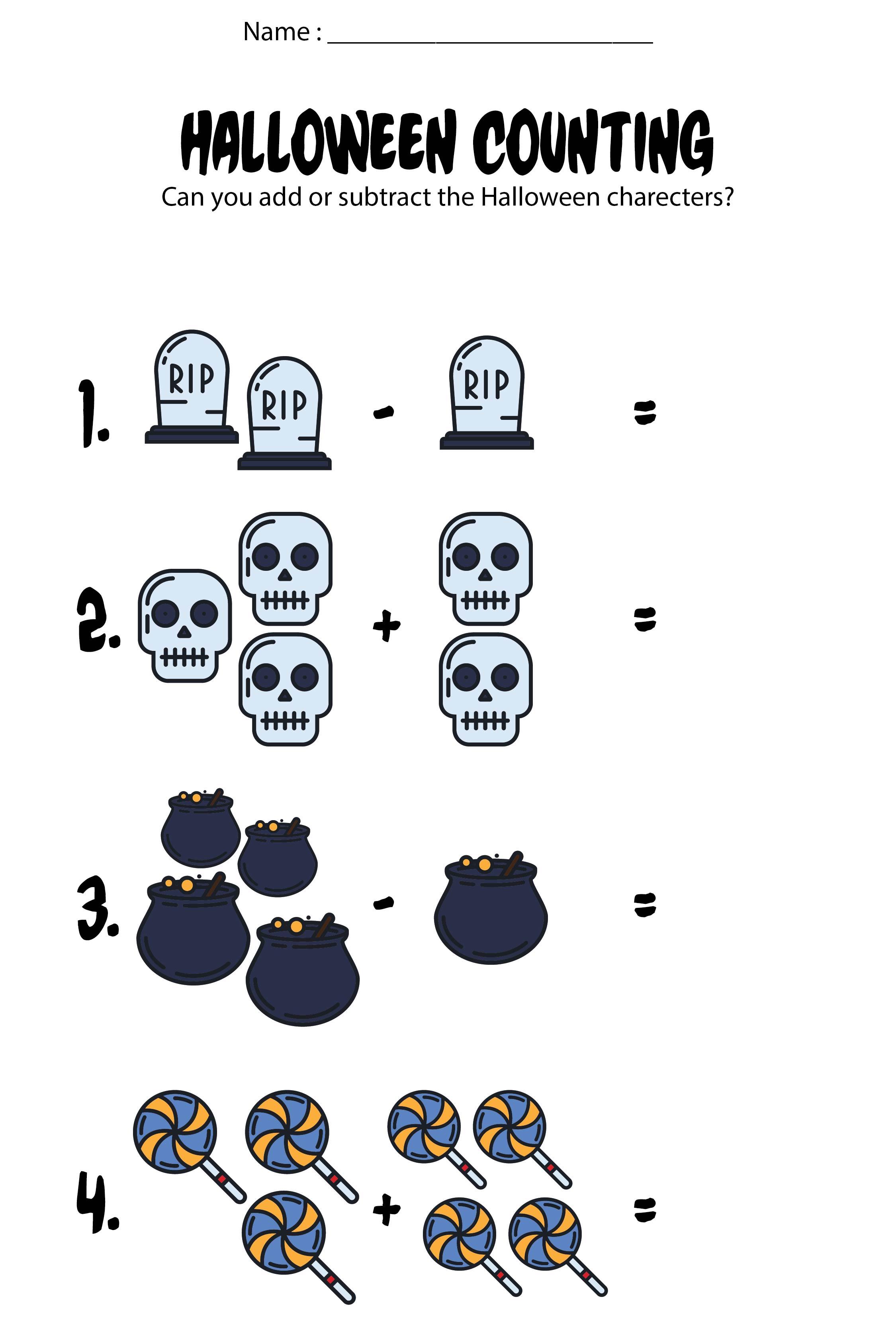 7 Best Kindergarten Halloween Worksheets Printables