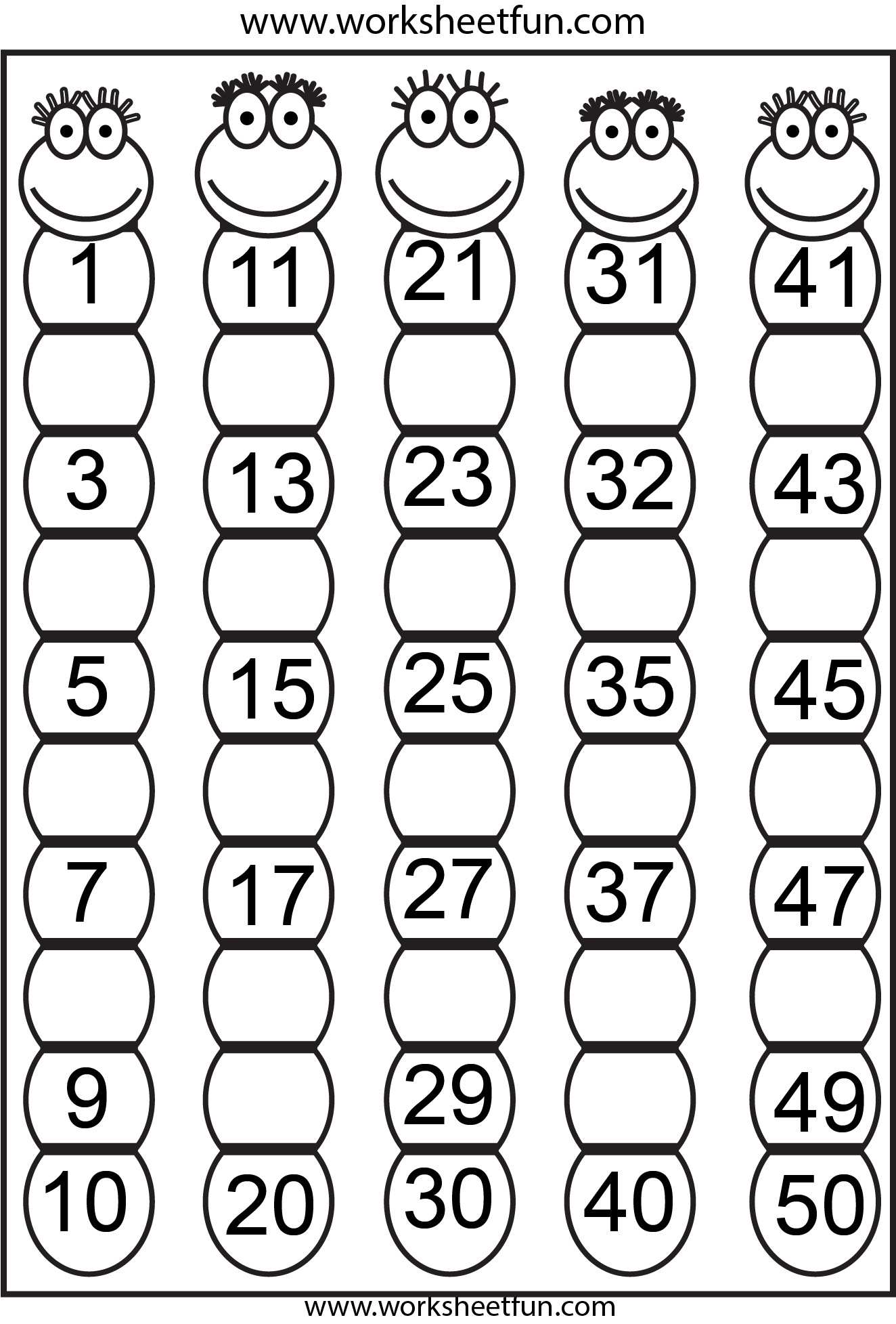 7 Best Images Of Number Sheets 1 To 50 Printable