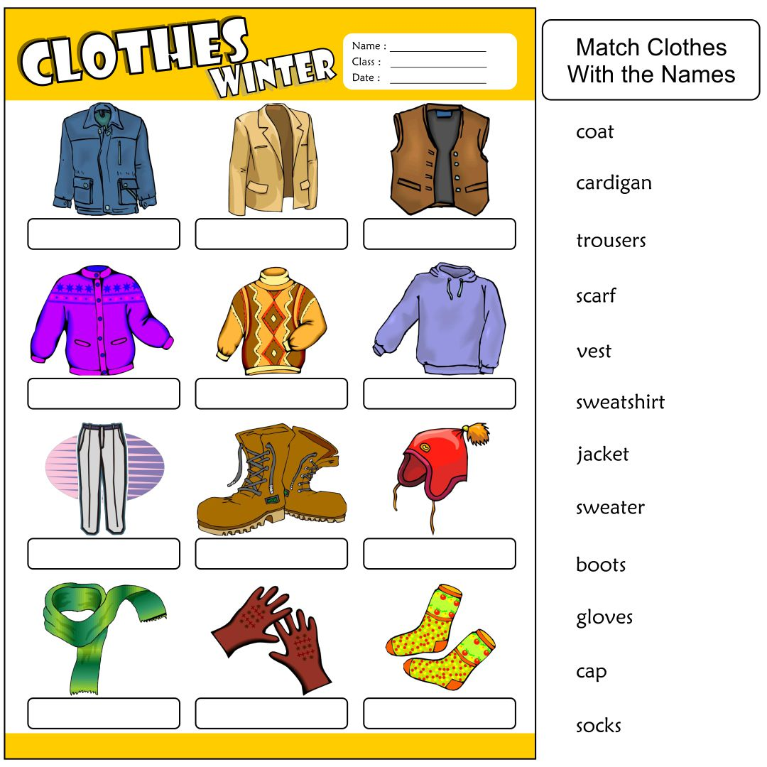 7 Best Images Of Clothing Printable Worksheets For