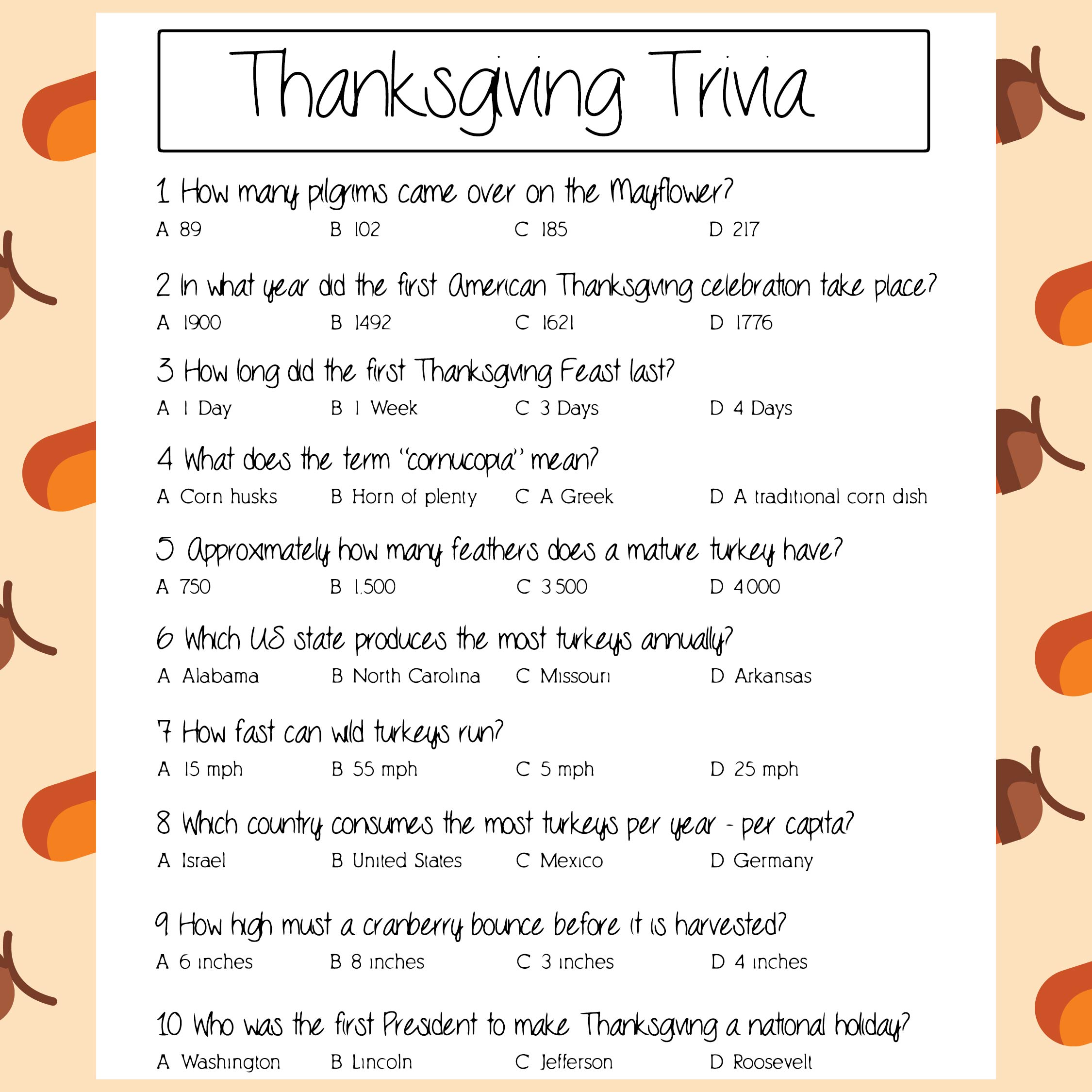 5 Best Free Trivia Questions Printable Thanksgiving