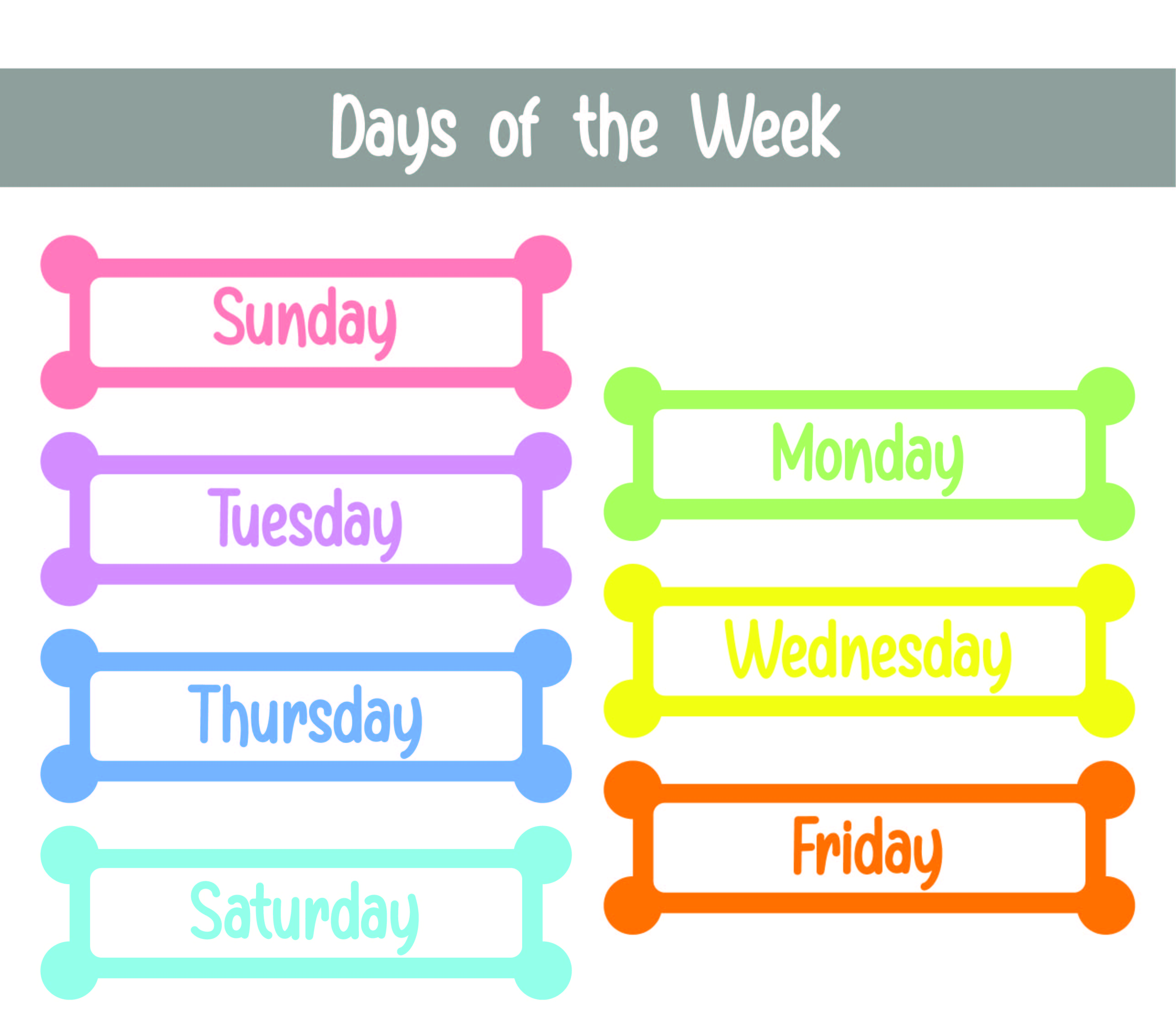 6 Best Images Of Days Of The Week Printables