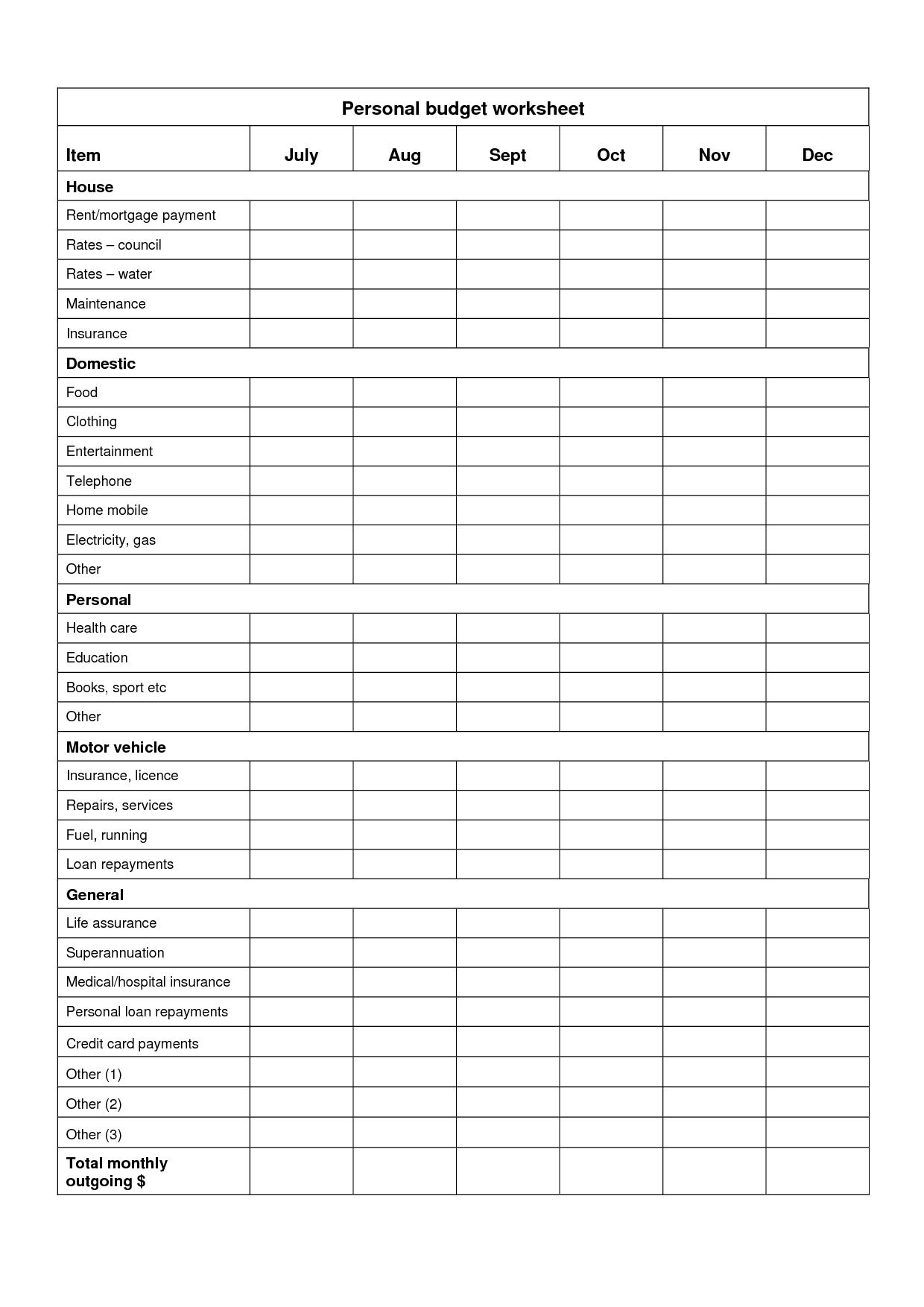 Personal Budget Sheet