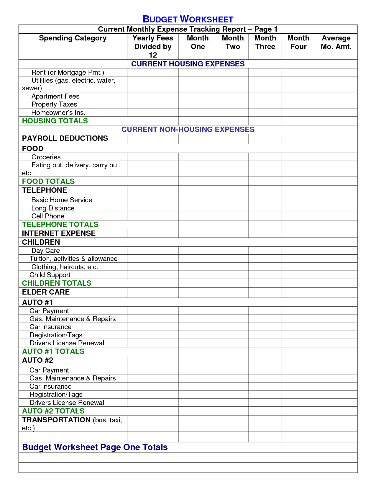 5 Best Images Of Household Expense Sheet Printables
