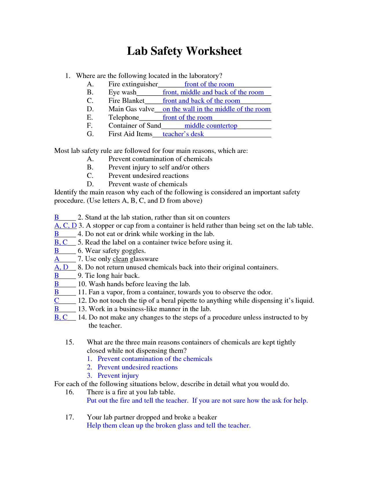 35 Lab Safety Worksheet Answers
