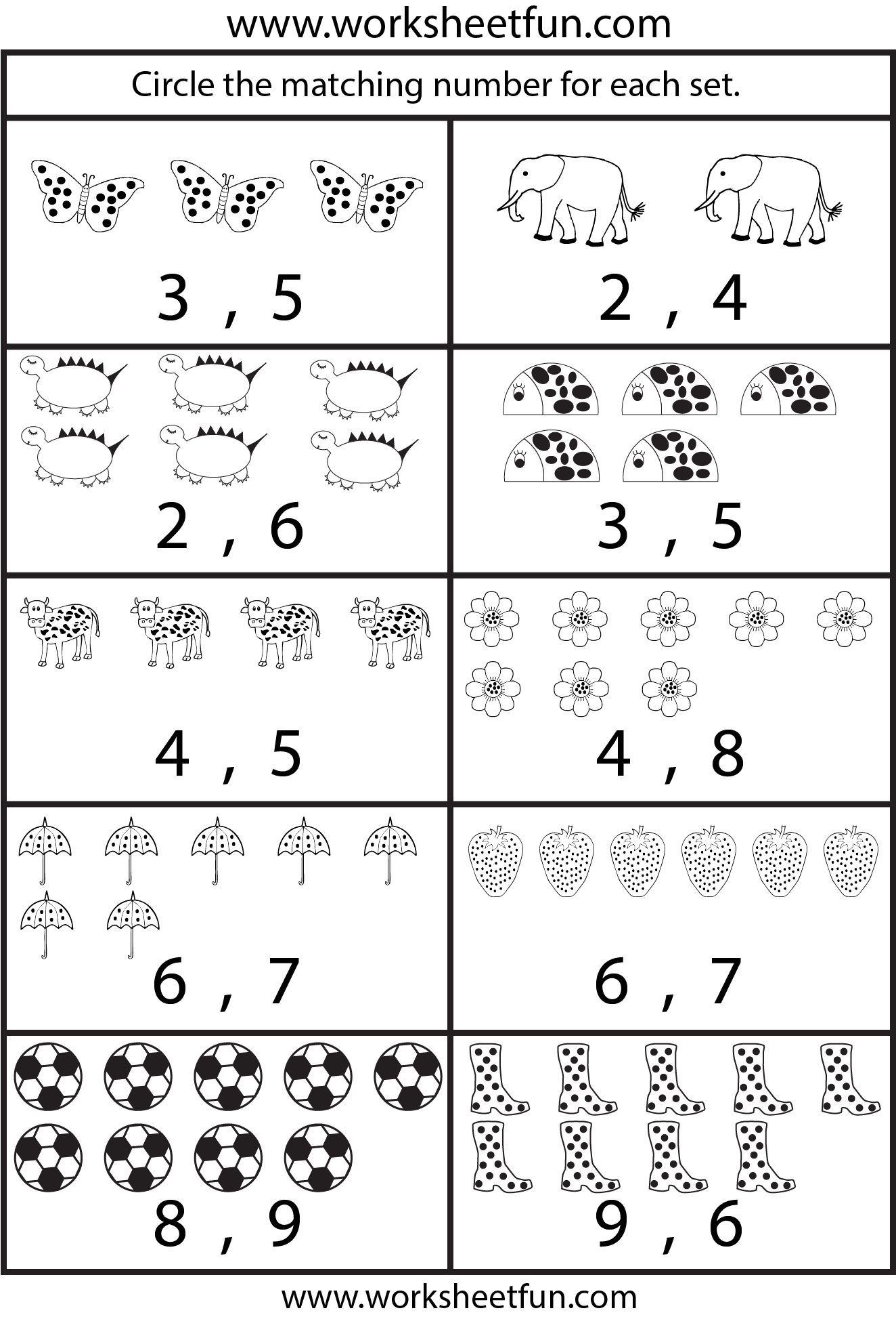 Kindergarten Worksheet Numbers 1 10