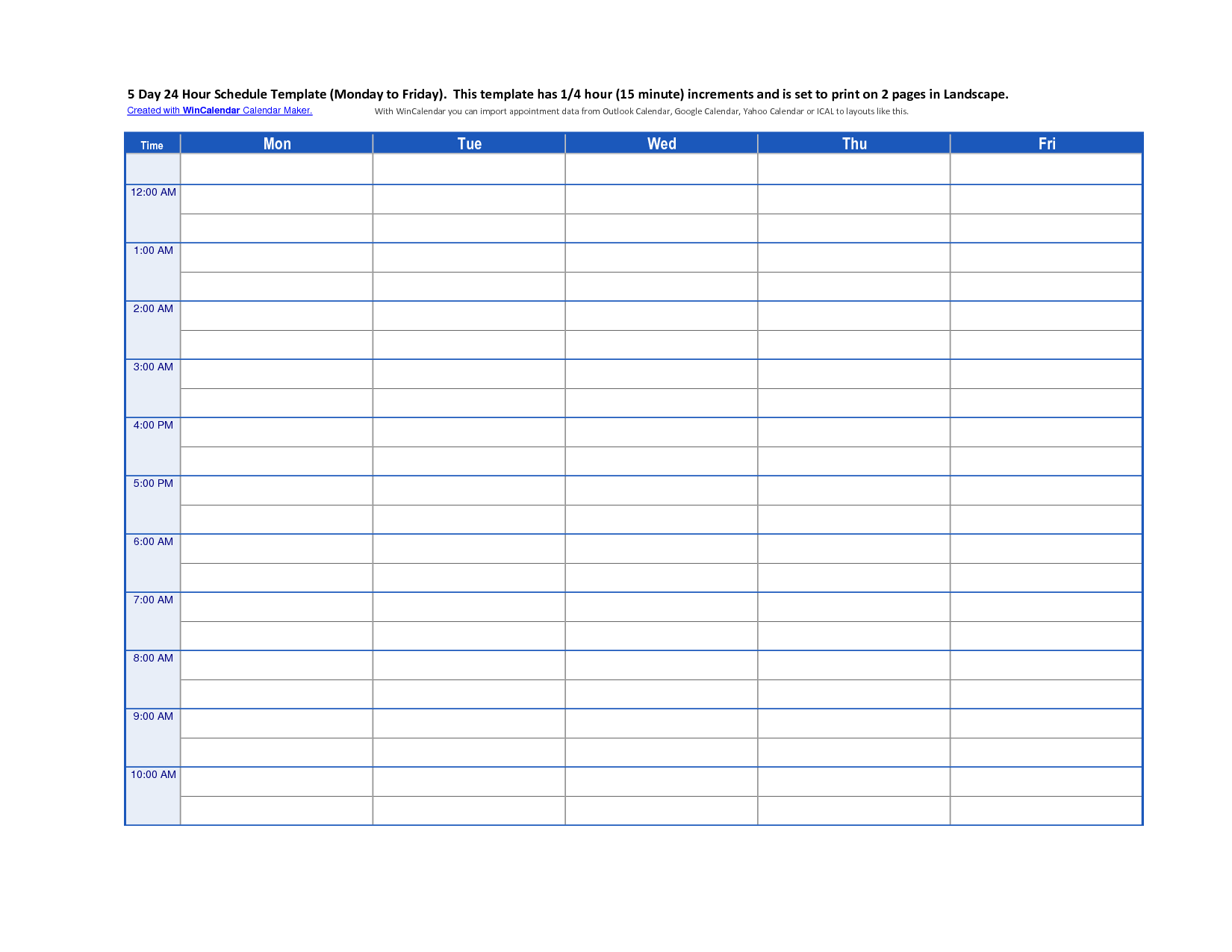6 Best Images Of 24 Hour Schedule Template Printable