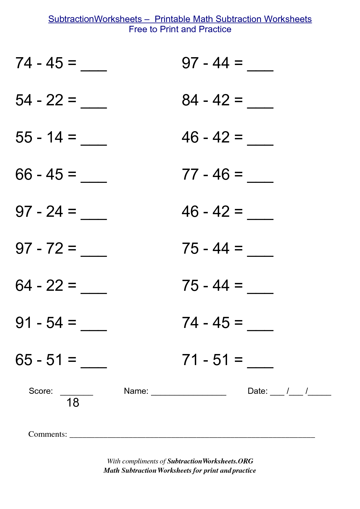5 Best Images Of Free Printable Math Sheets Subtraction