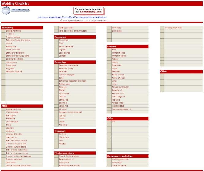 Wedding Planning Checklist Template Excel – Sample Wedding Planning Checklist Template
