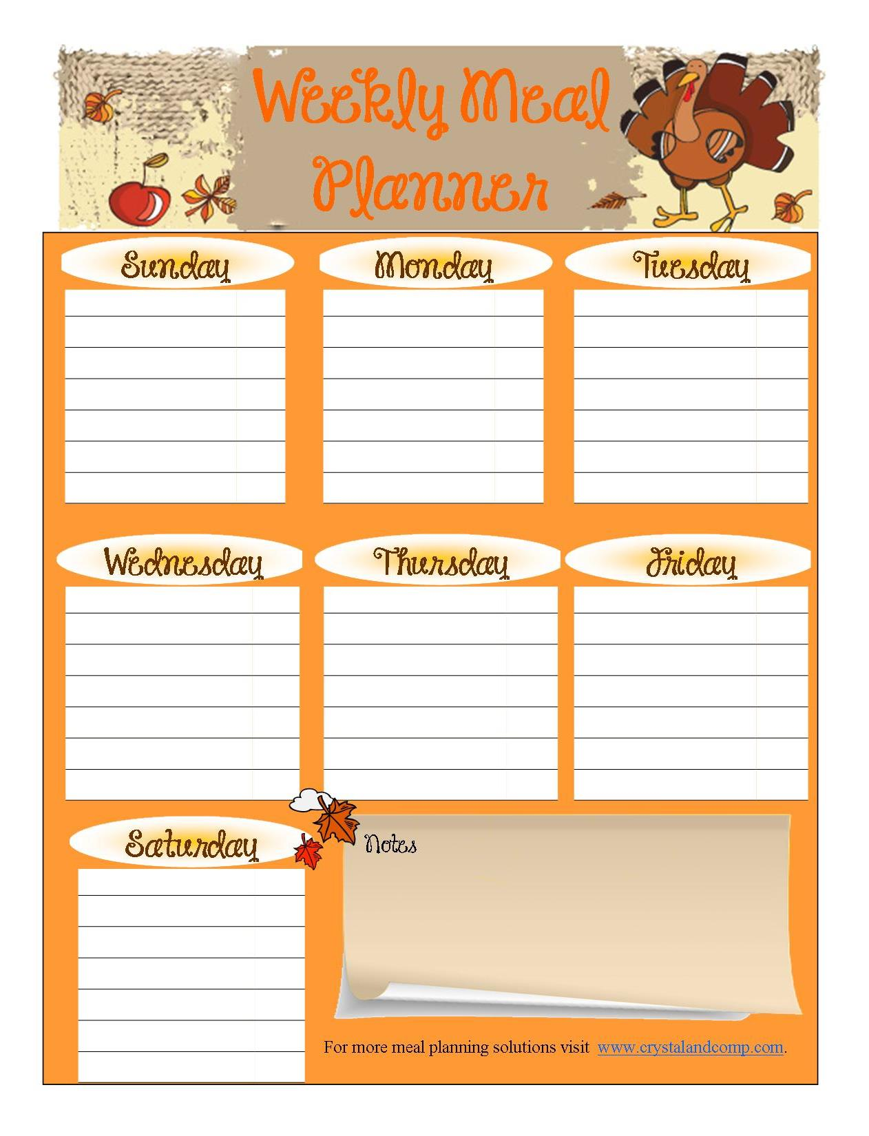 7 Best Images Of Free Printable Menu Planning Sheets