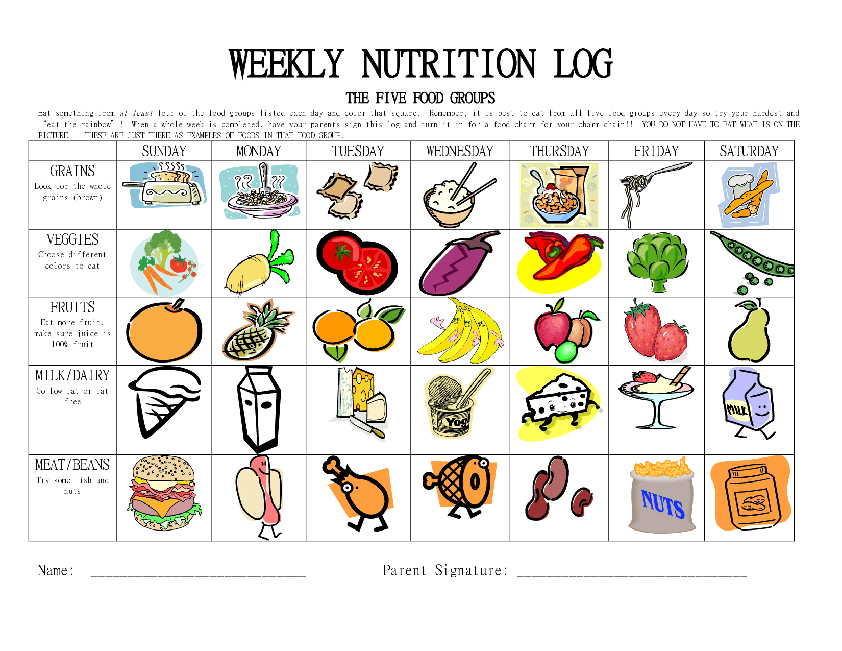Healthy Eating Worksheet Excel