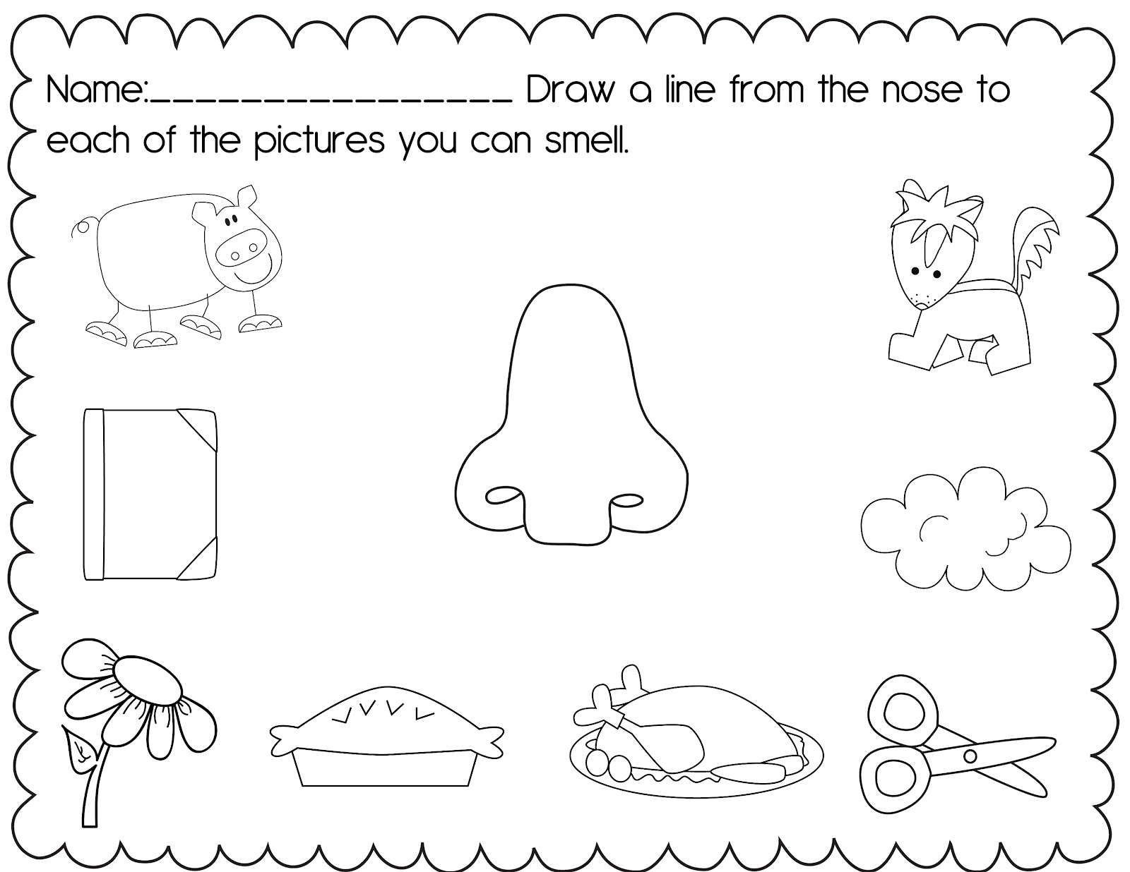 7 Best 5 Senses Preschool Printables