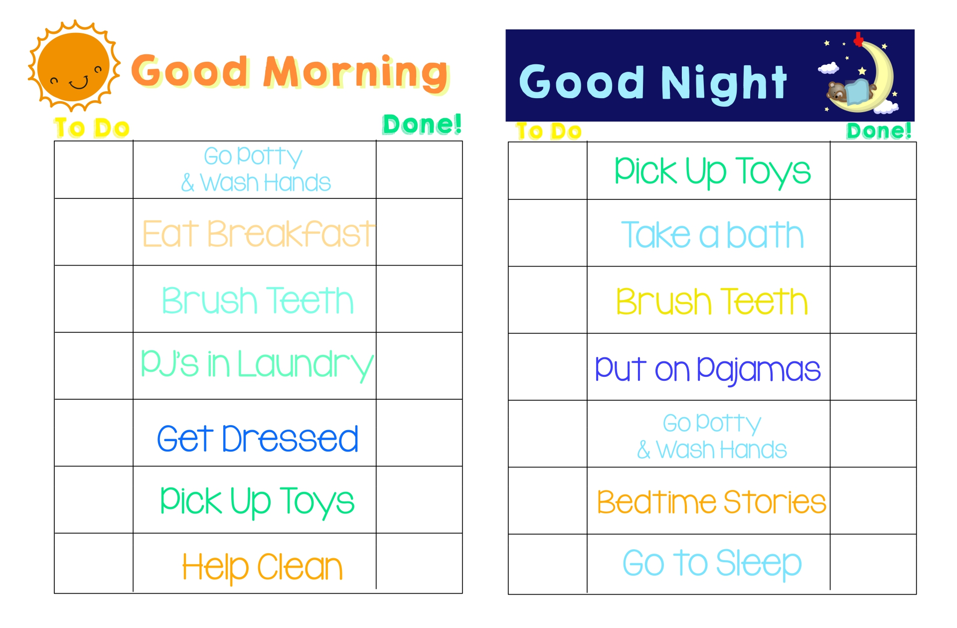 9 Best Images Of Kids Bedtime Routine Chart Printable