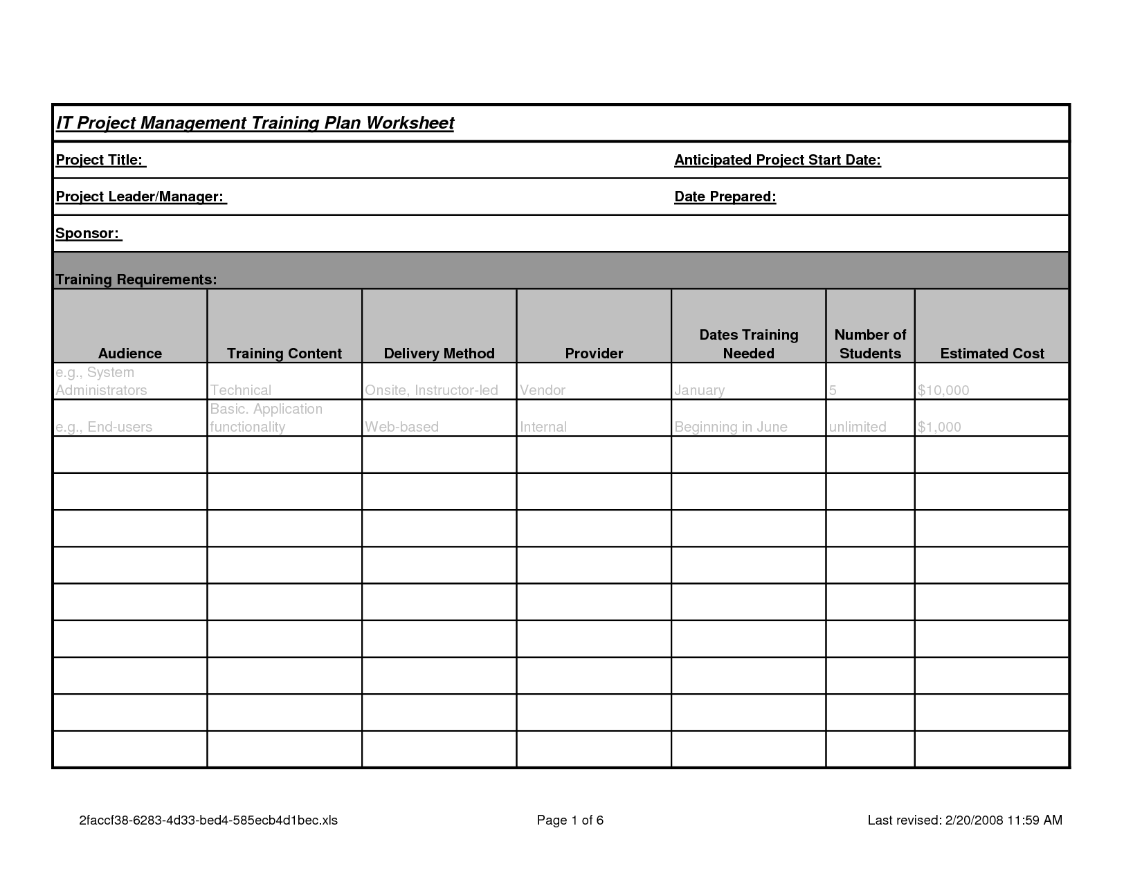6 Best Images Of Project Planning Sheet Printable