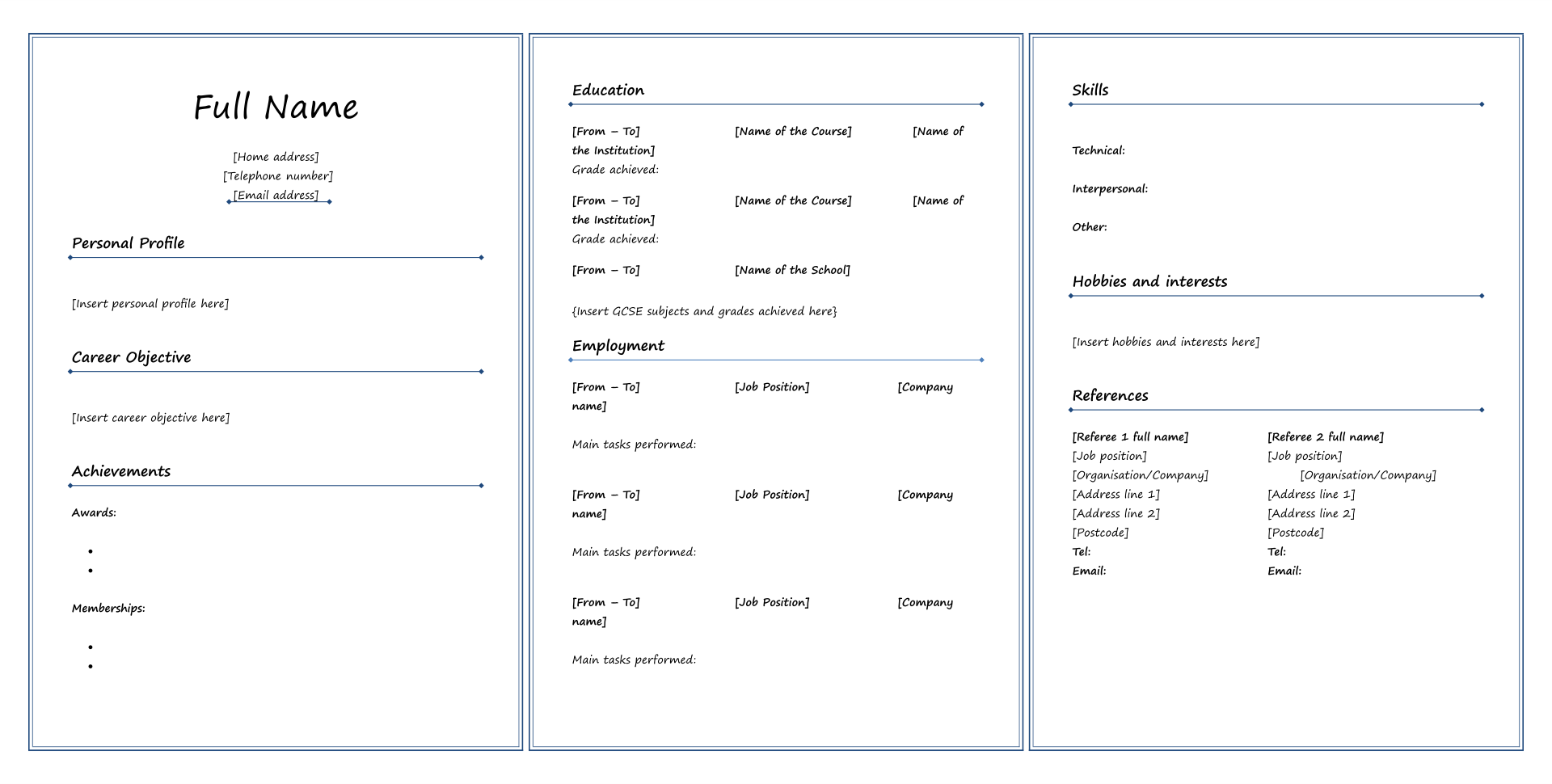 7 Best Fill In Blank Printable Resume