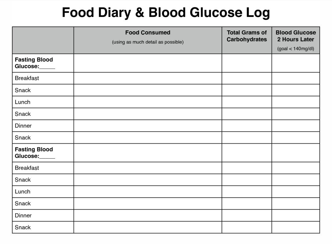 8 Best Diabetic Food Log Sheets Printable