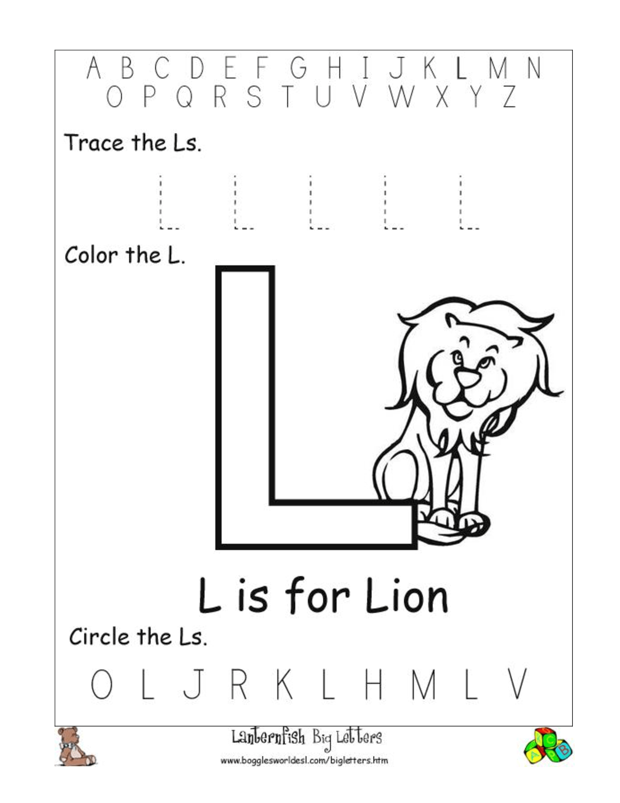 5 Best Images Of Printable Letter L Worksheets