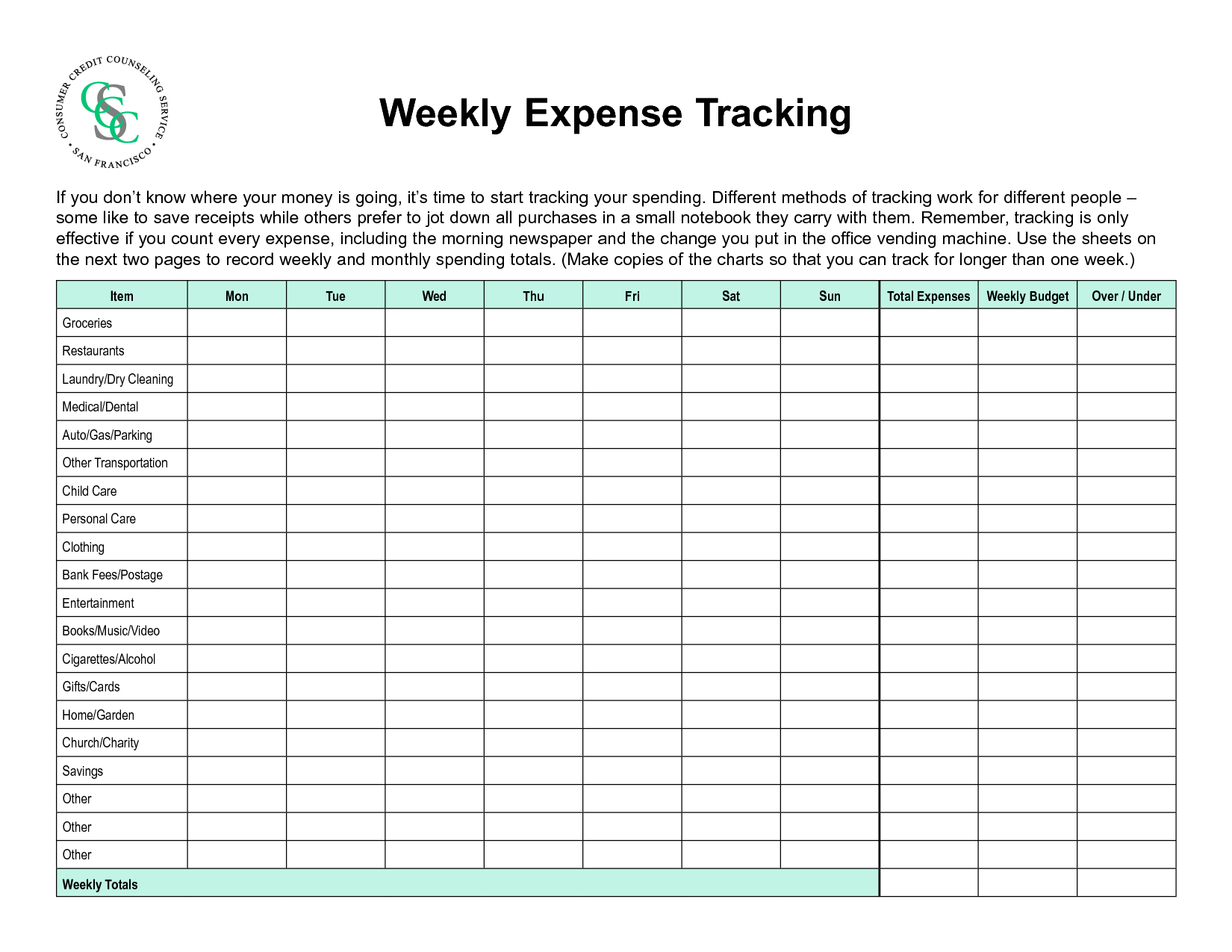 8 Best Images Of Printable Expense Sheets Only