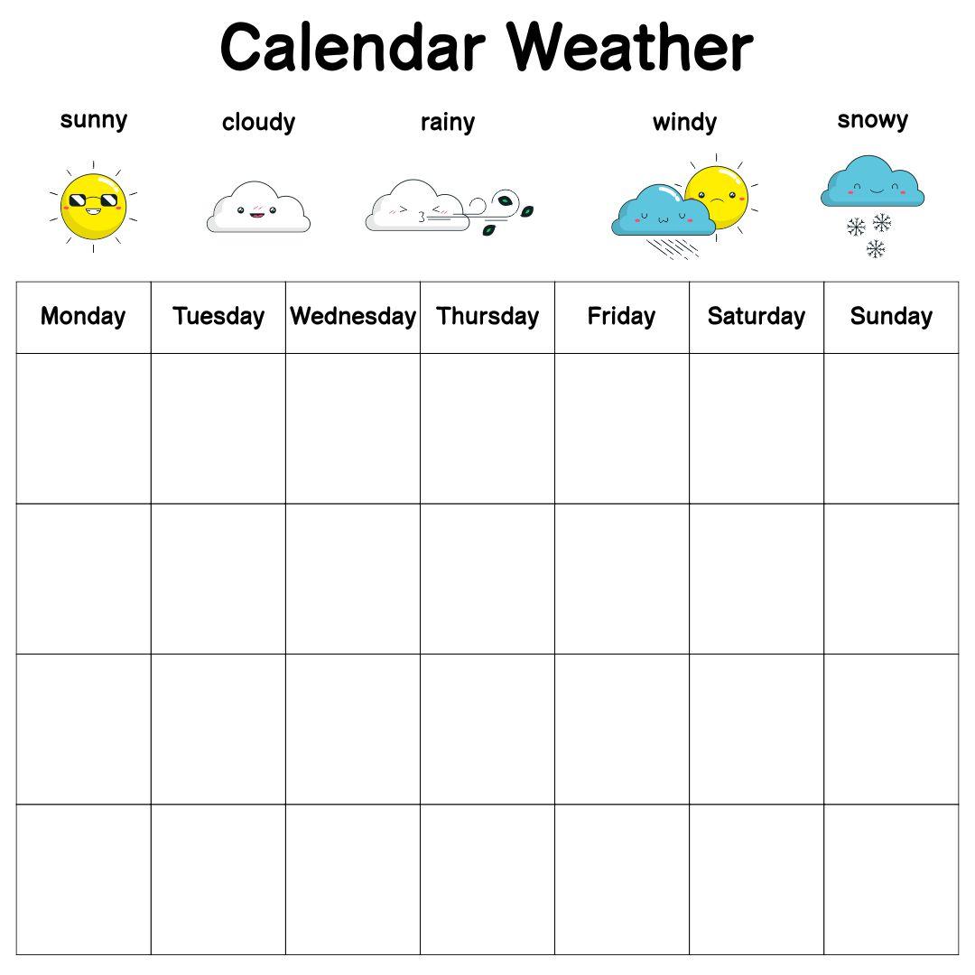 7 Best Images Of Monthly Weather Chart Kindergarten