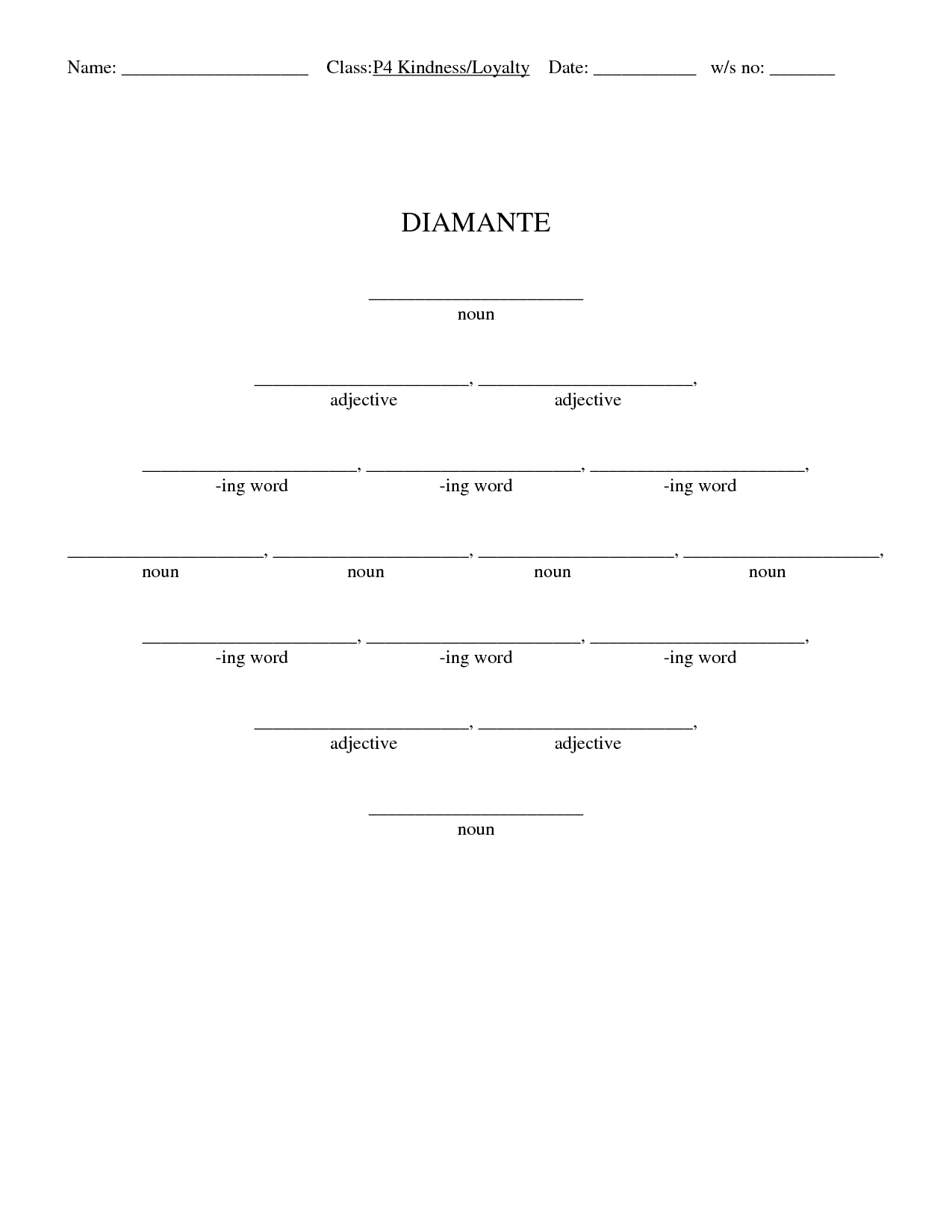 Search Results For Blank Diamante Poem Calendar