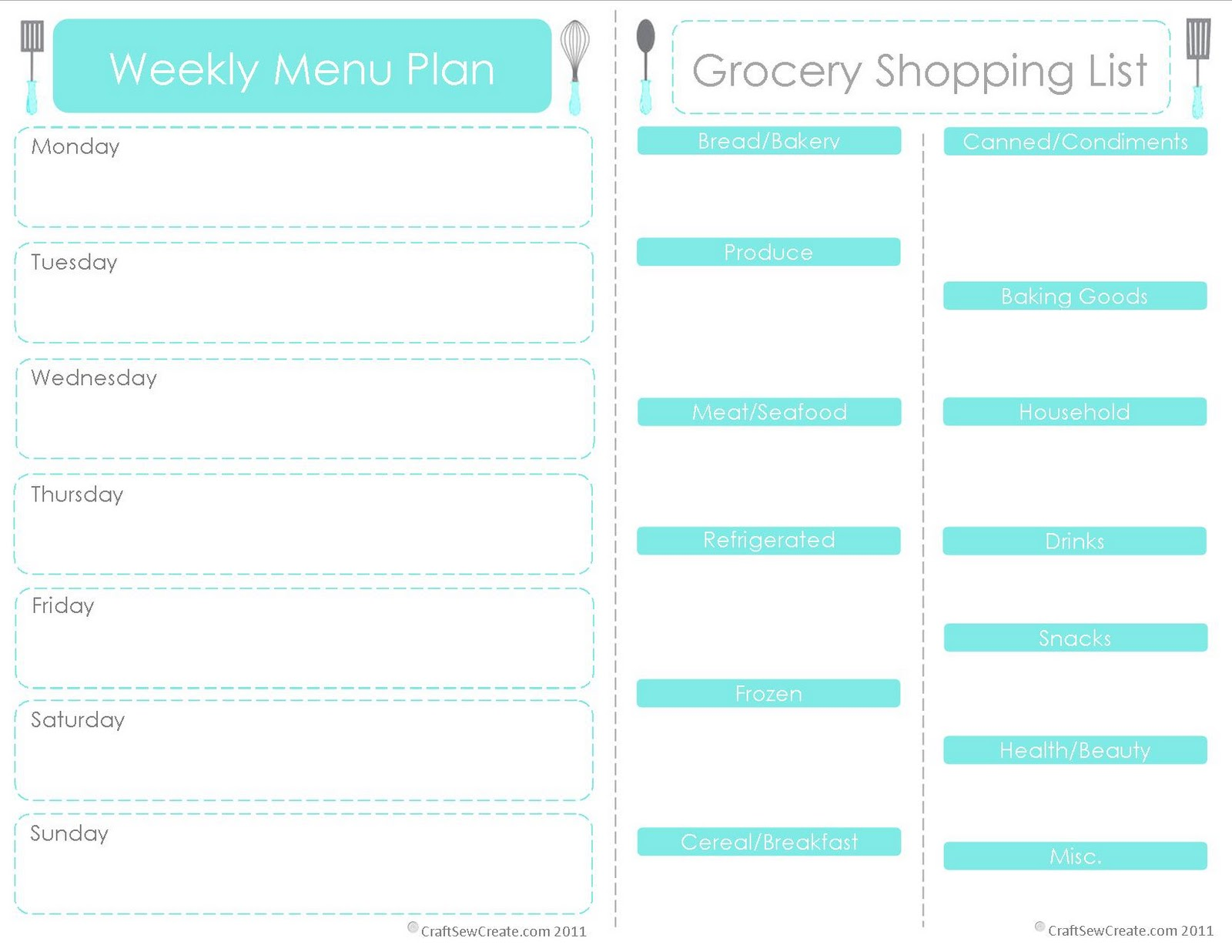6 Best Images Of Menu Shopping List Printable