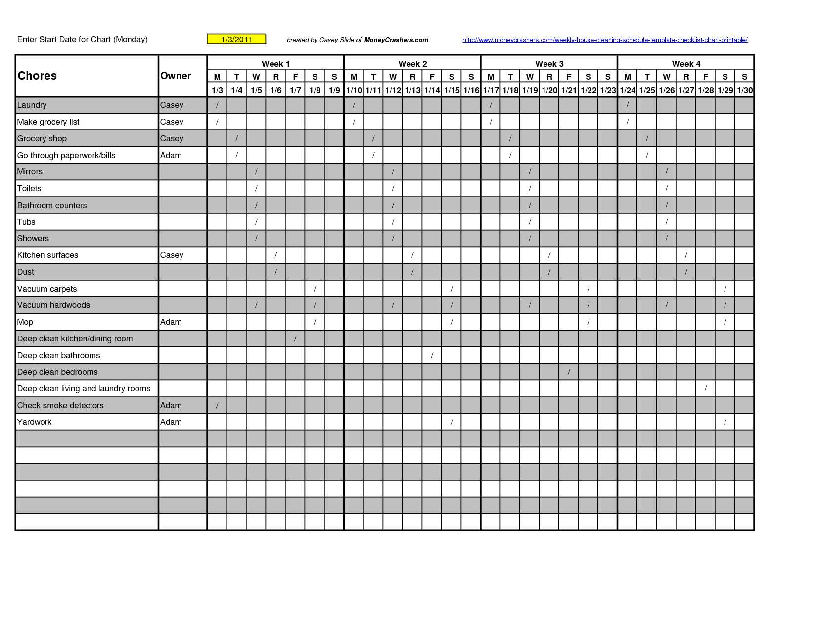 7 Best Images Of Printable Weekly Cleaning Chart Template