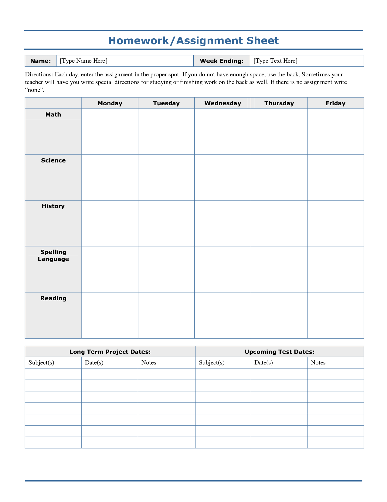 7 Best Images Of Free Printable Assignment Sheets