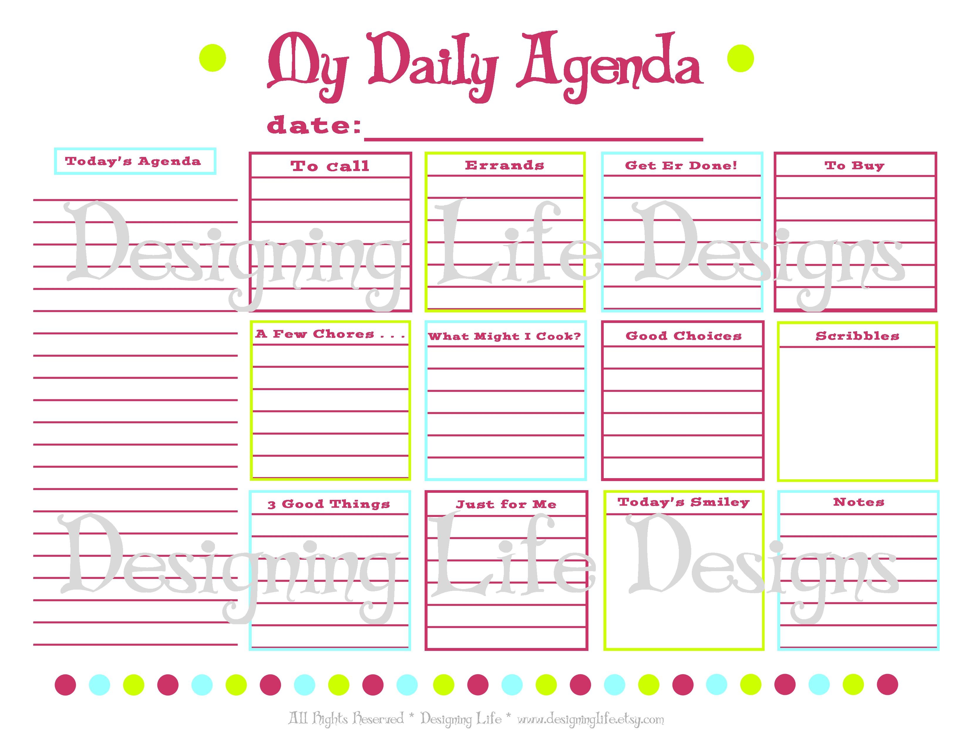 7 Best Images Of Online Agenda Printable