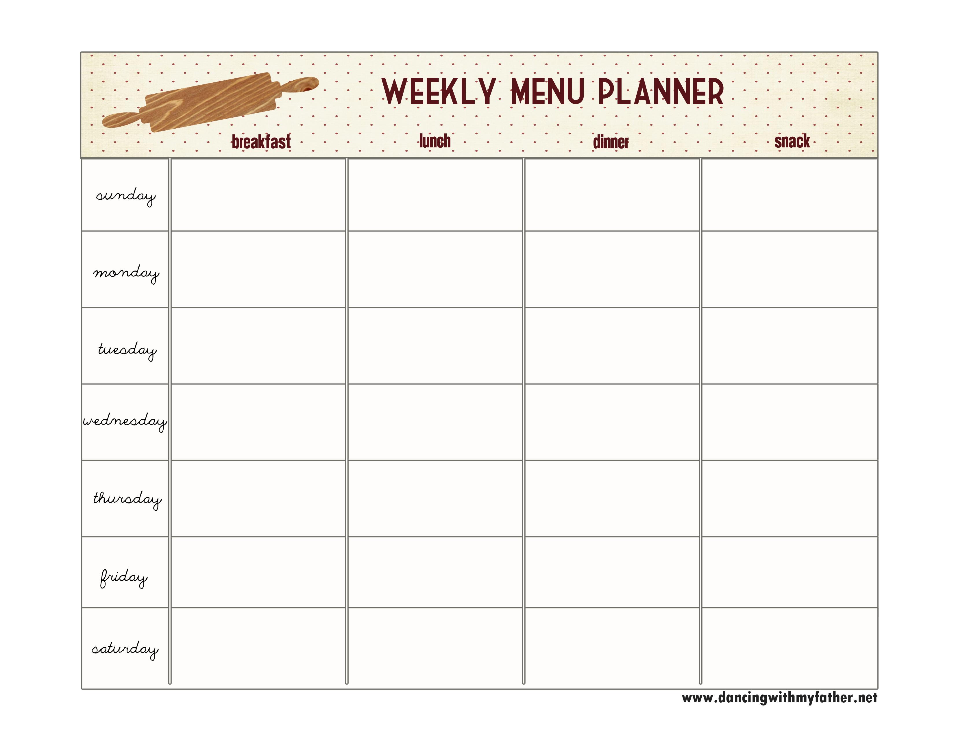 7 Best Images Of Blank Printable Weekly Menu Planner