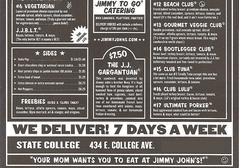 image about Jimmy Johns Menu Printable named Jimmy Johns Menu Printable
