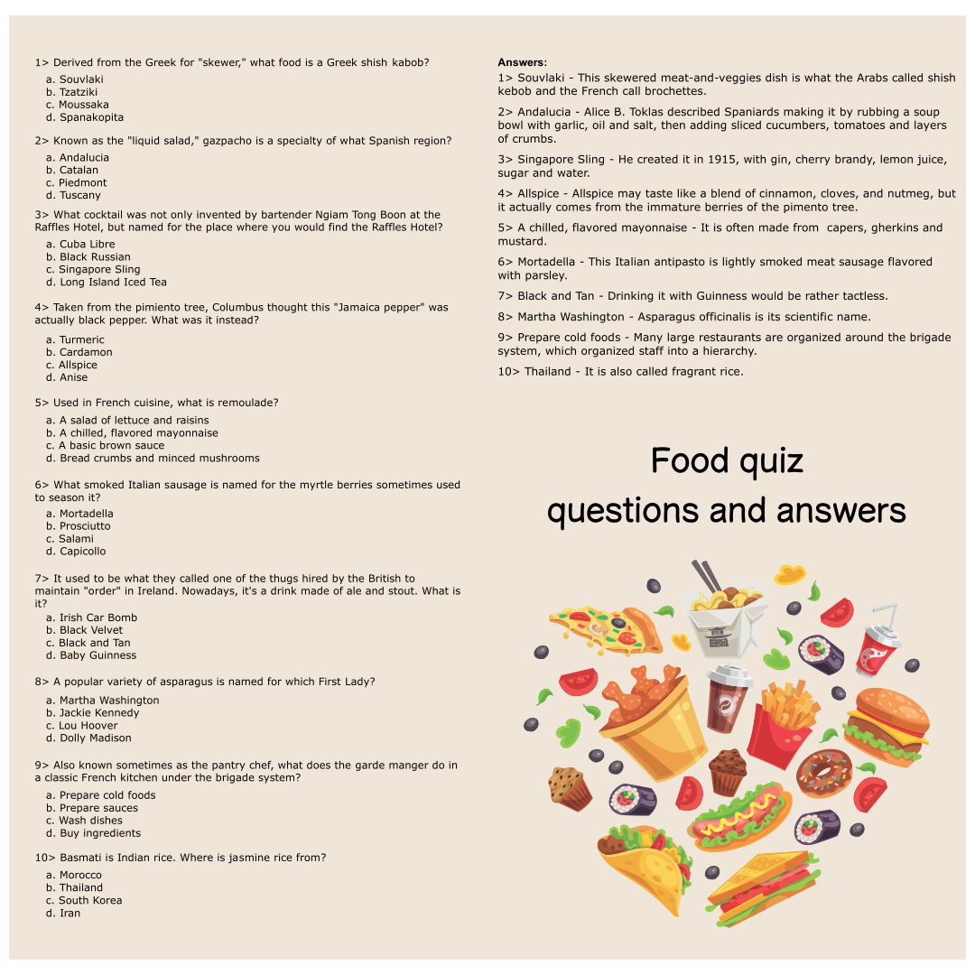 9 Best Images Of Printable Food Trivia