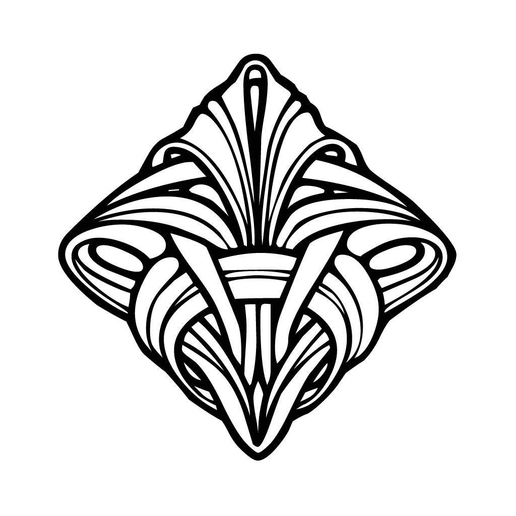 Art Deco Coloring Book Pages Adult Sketch Coloring Page