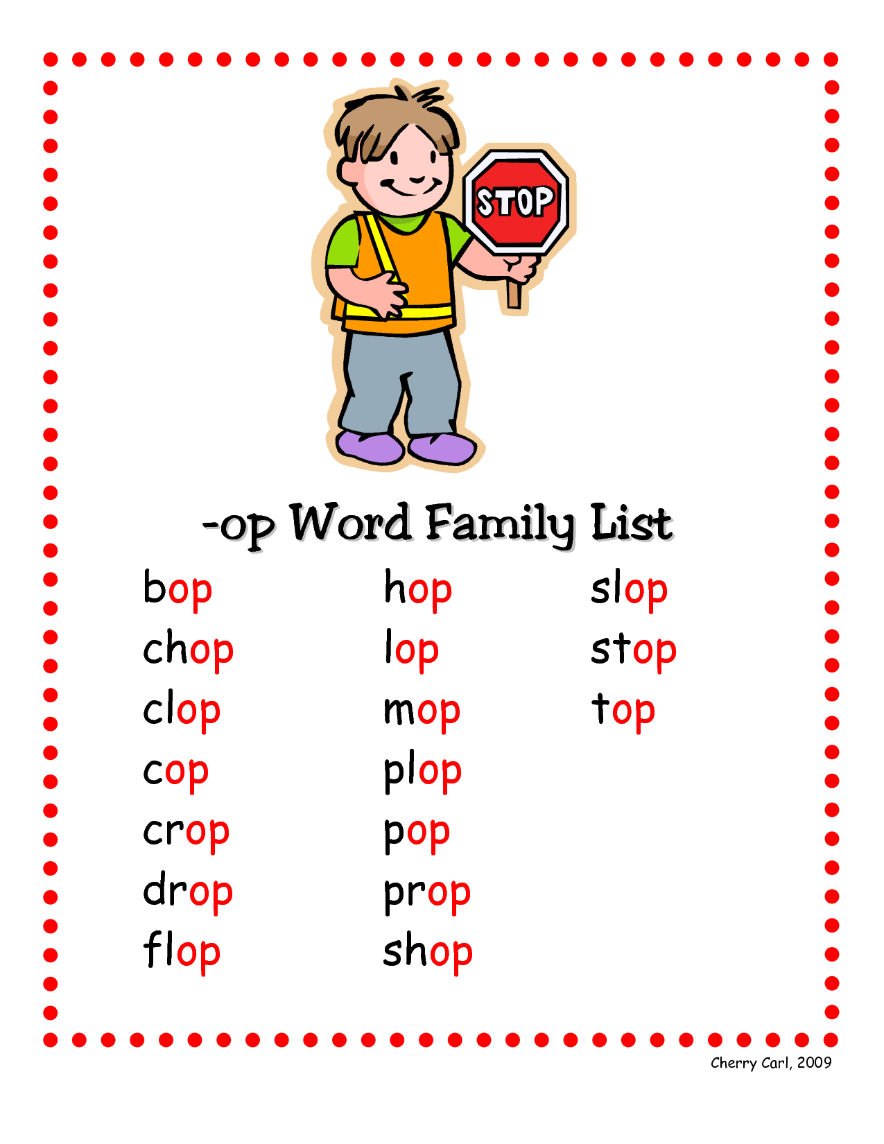 6 Best Images Of Printable Word Family Lists