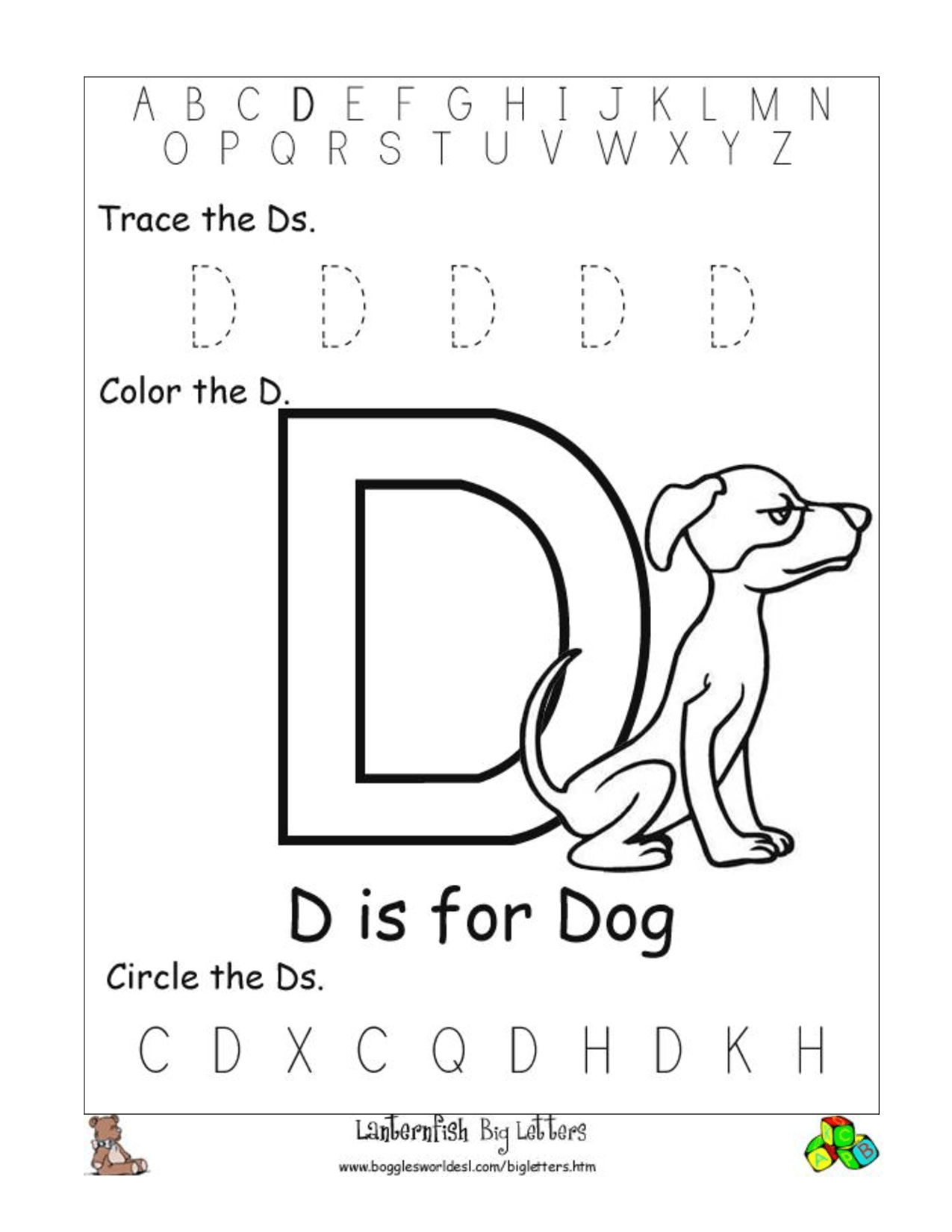 6 Best Images Of Printable Letter D Worksheets For