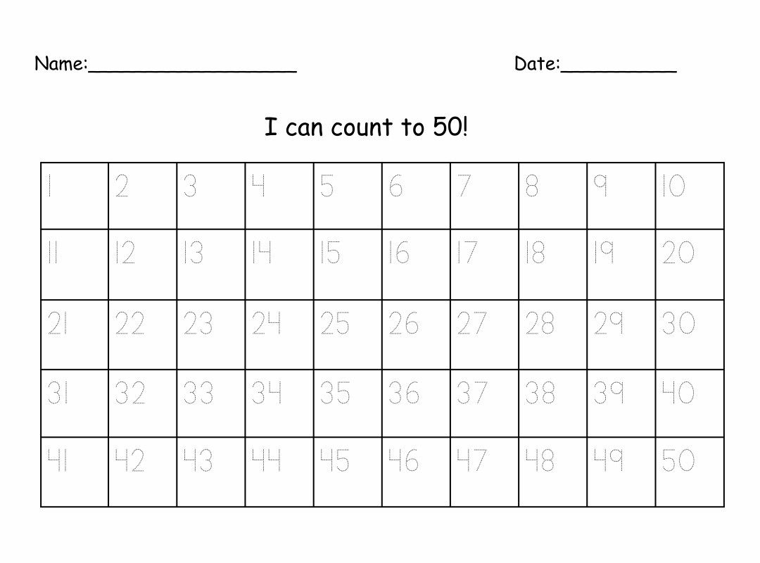 4 Best Images Of Printable Number 1 50 Worksheet