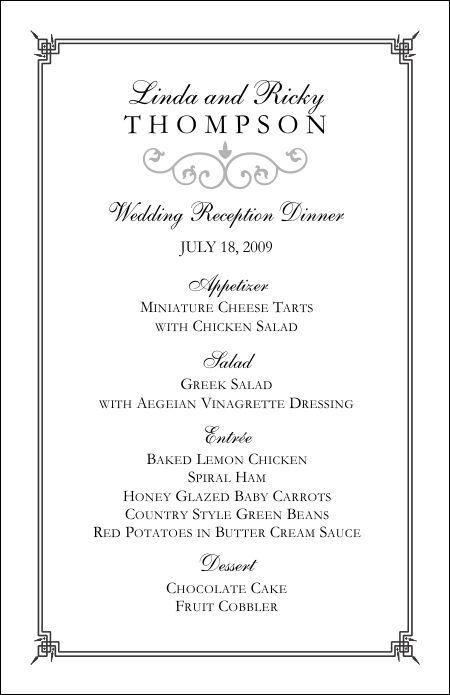 Free Printable Wedding Menu Card Templates Wedding Invitation Sample – Free Menu Templates Printable