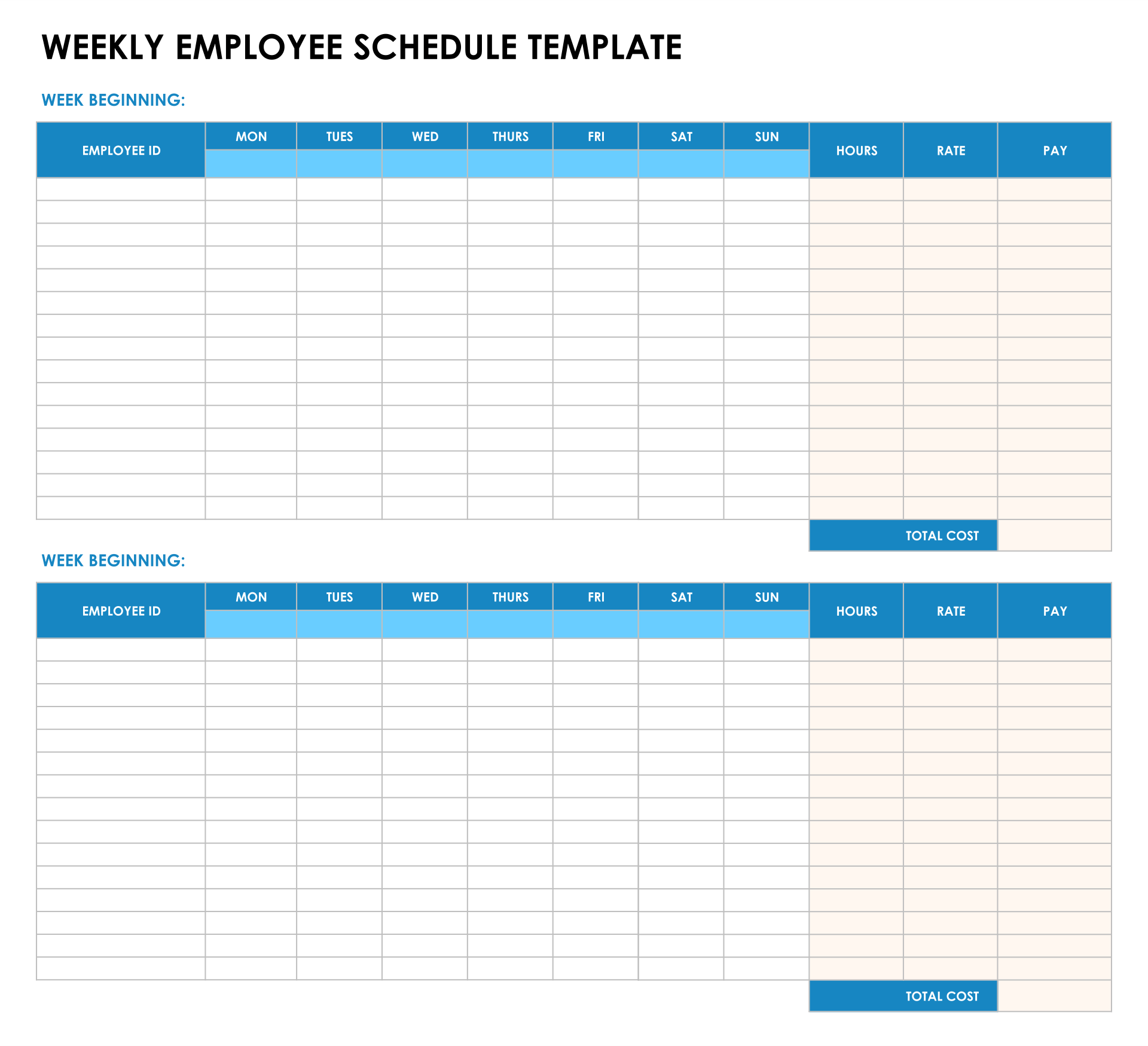 8 Best Images Of Blank Printable Timesheets