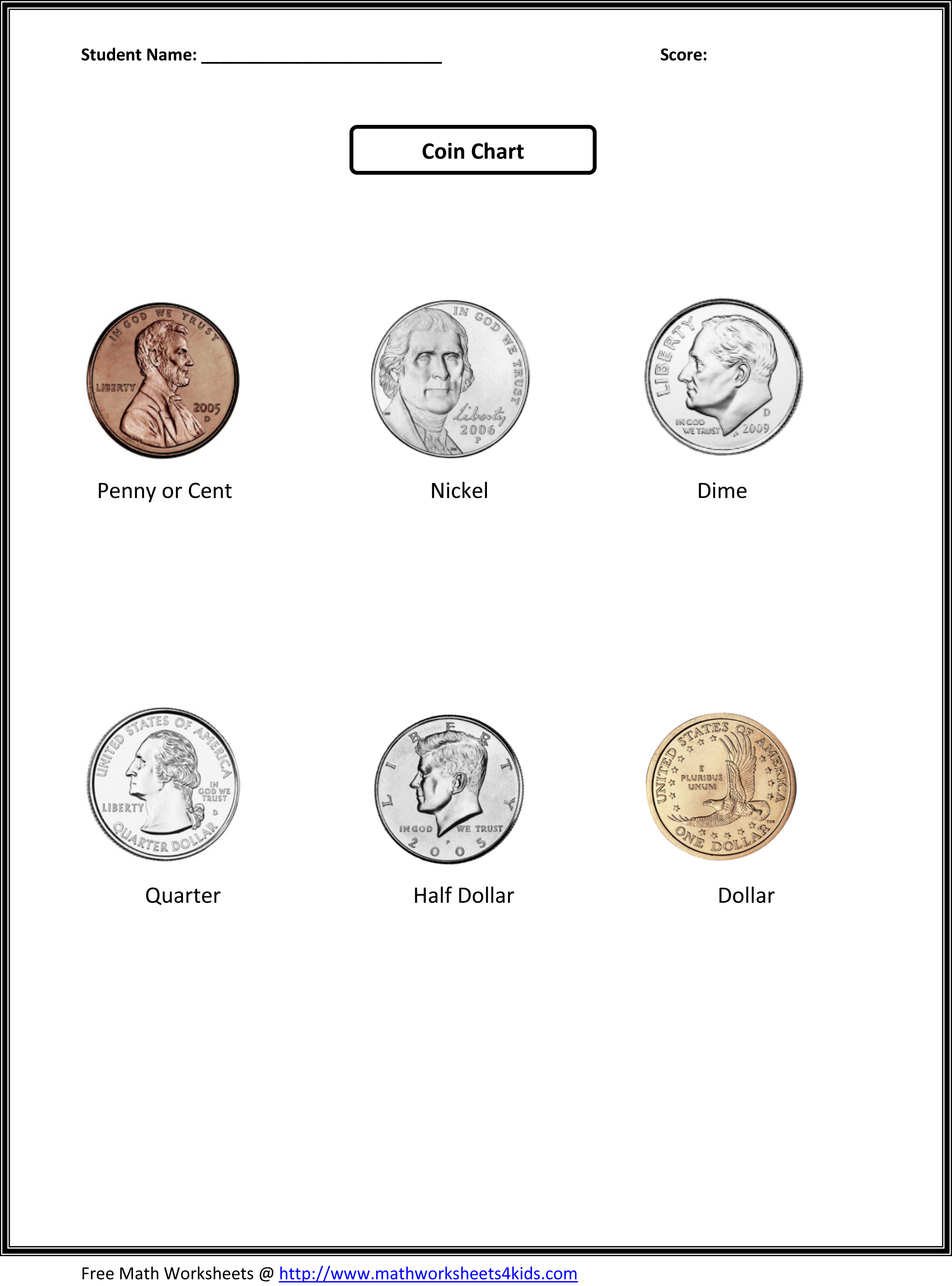 Real Coin Value Worksheet